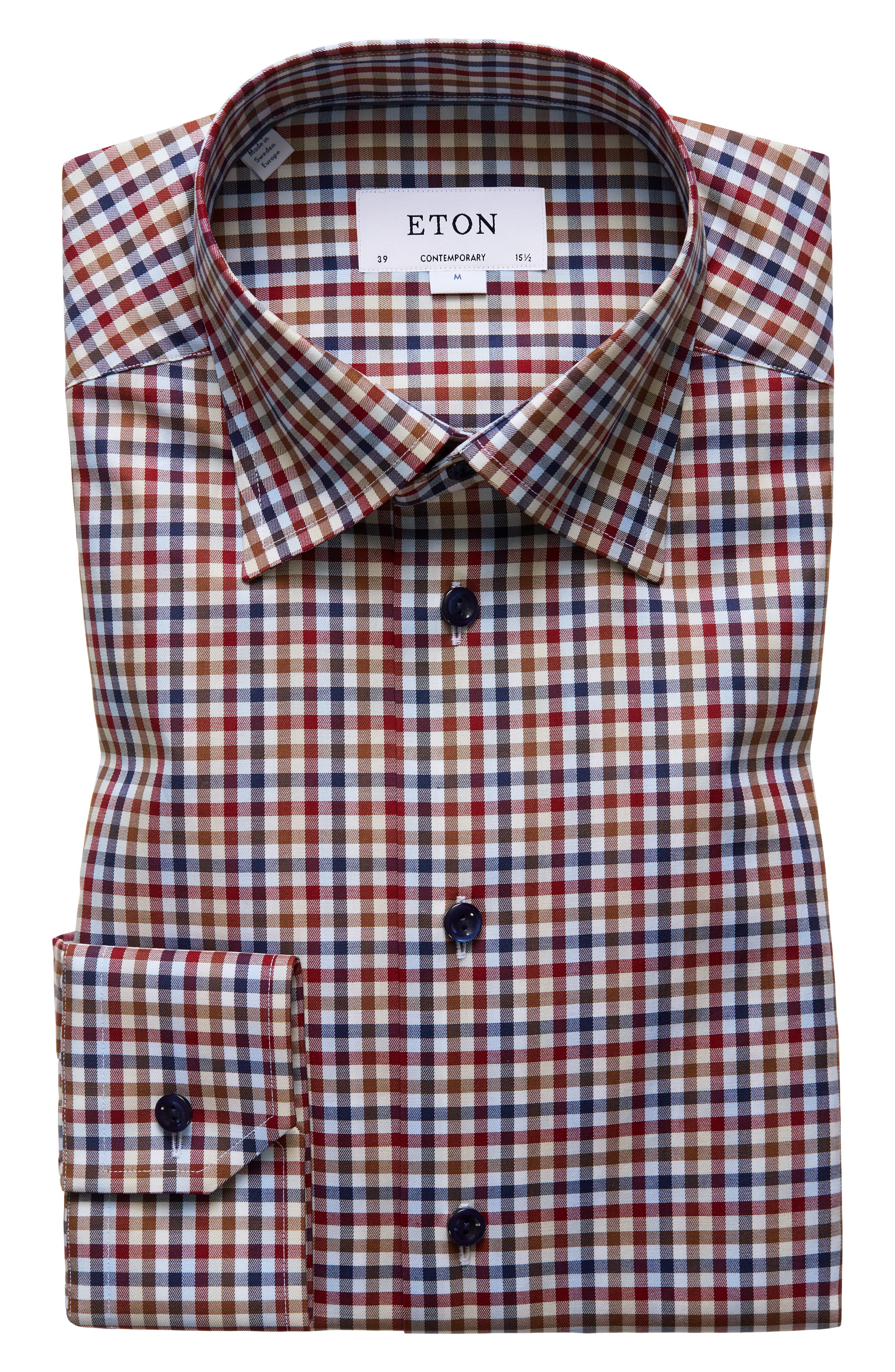 Multicolored Gingham Regular Fit Dress Shirt in Pink/ Red