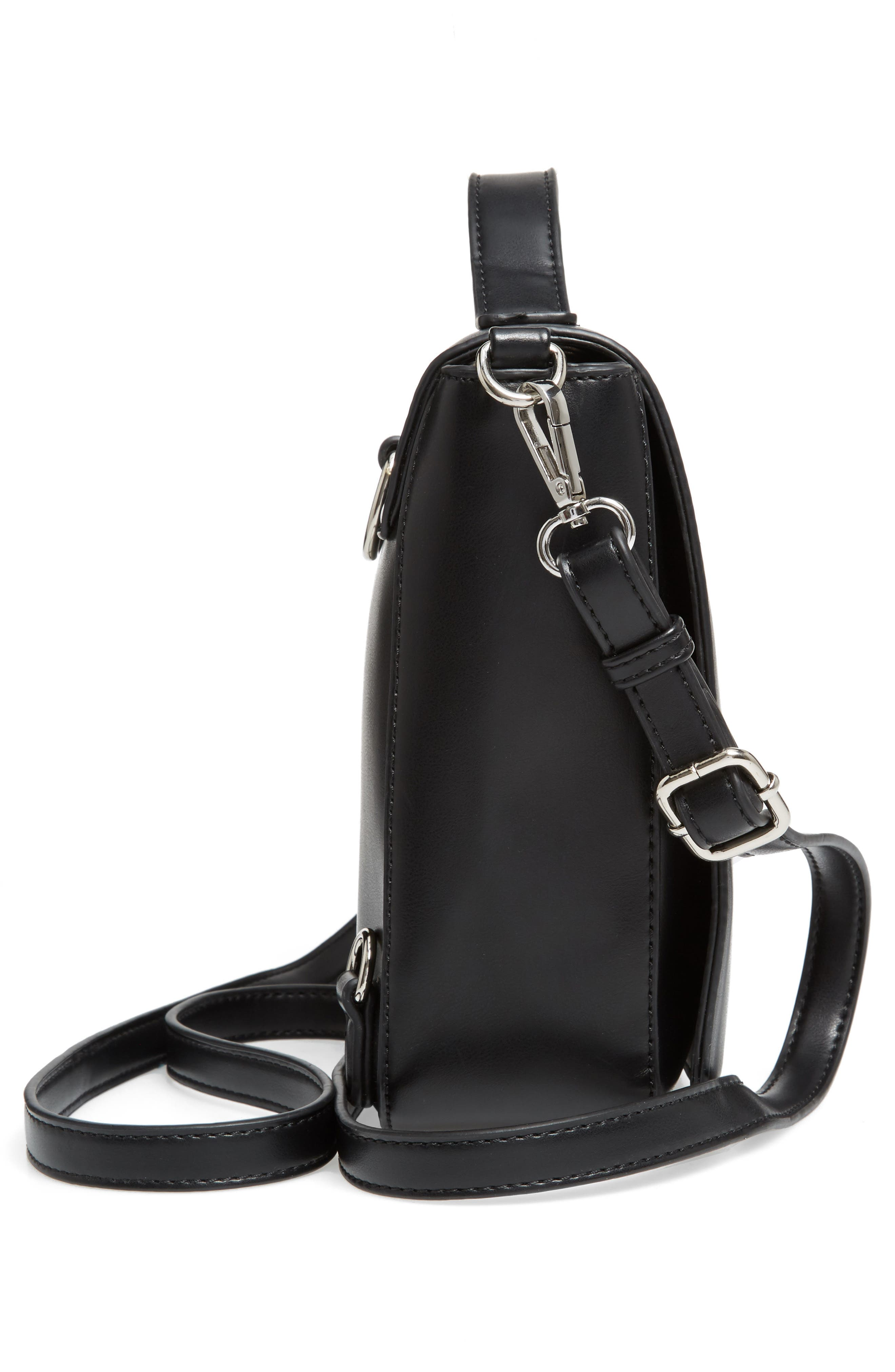 Convertible Faux Leather Backpack,                             Alternate thumbnail 5, color,                             001