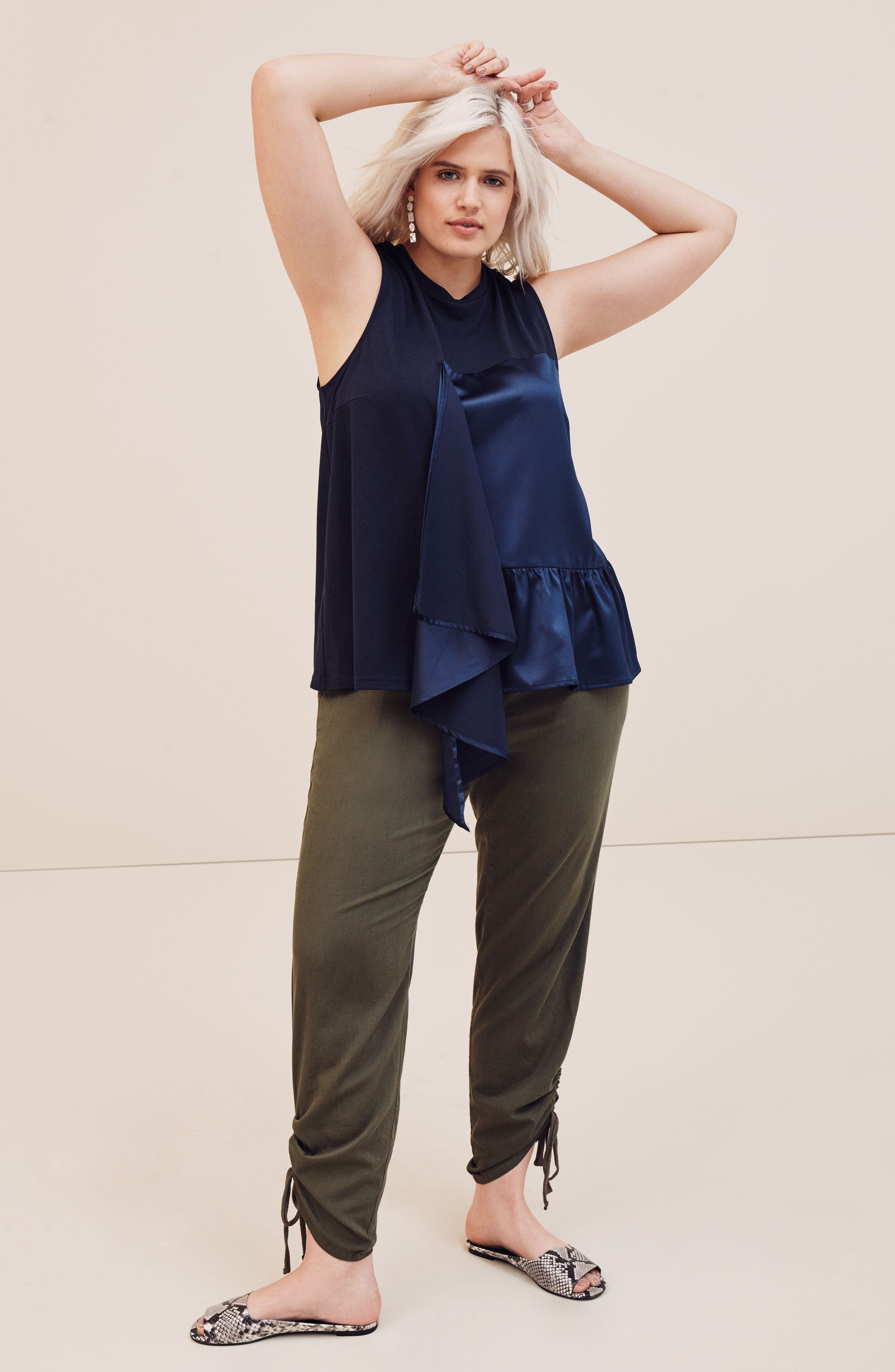 Side Ruched Ankle Pants,                             Alternate thumbnail 7, color,                             030