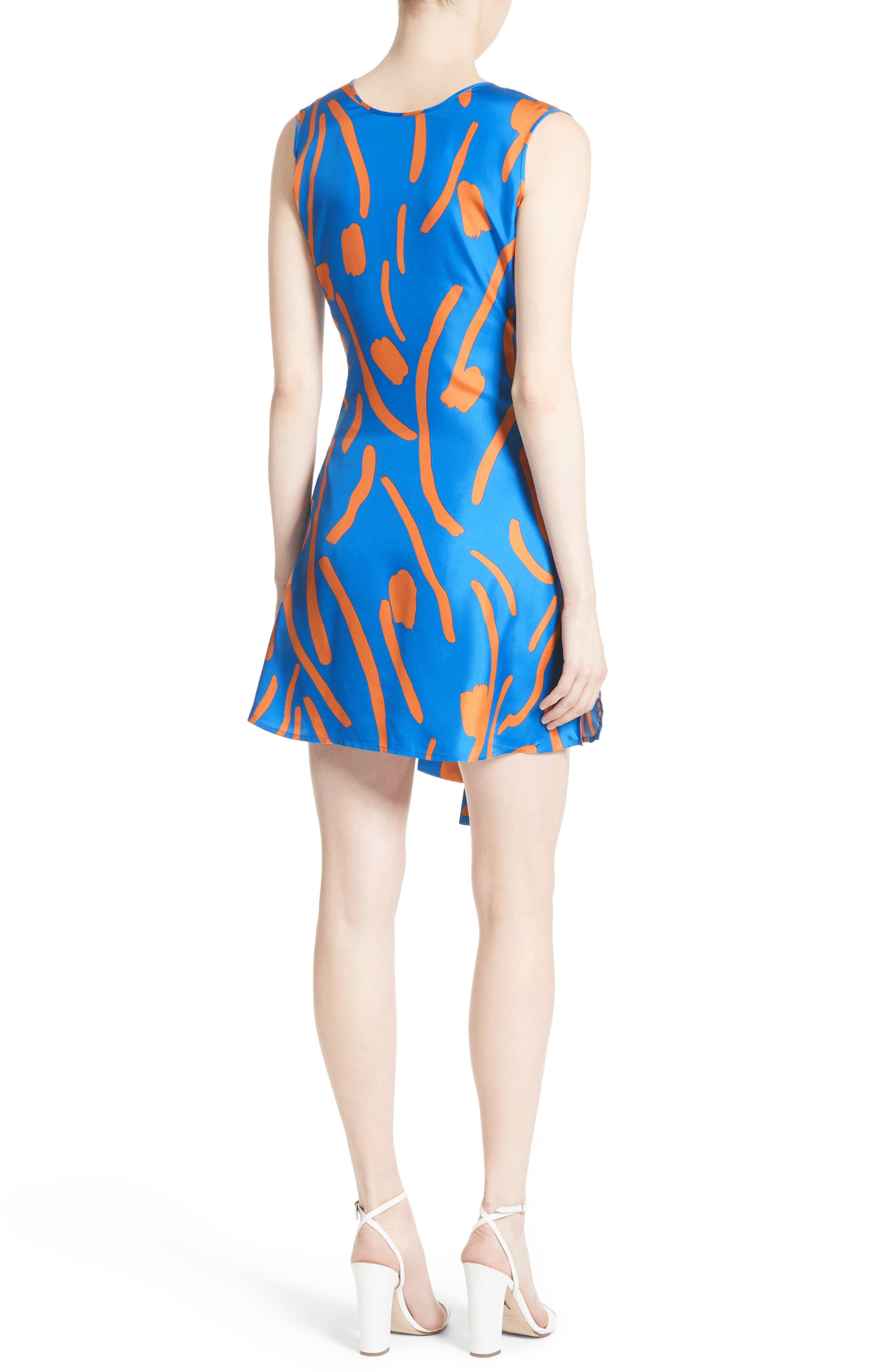 Tie Front Faux Wrap Silk Dress,                             Alternate thumbnail 2, color,                             494
