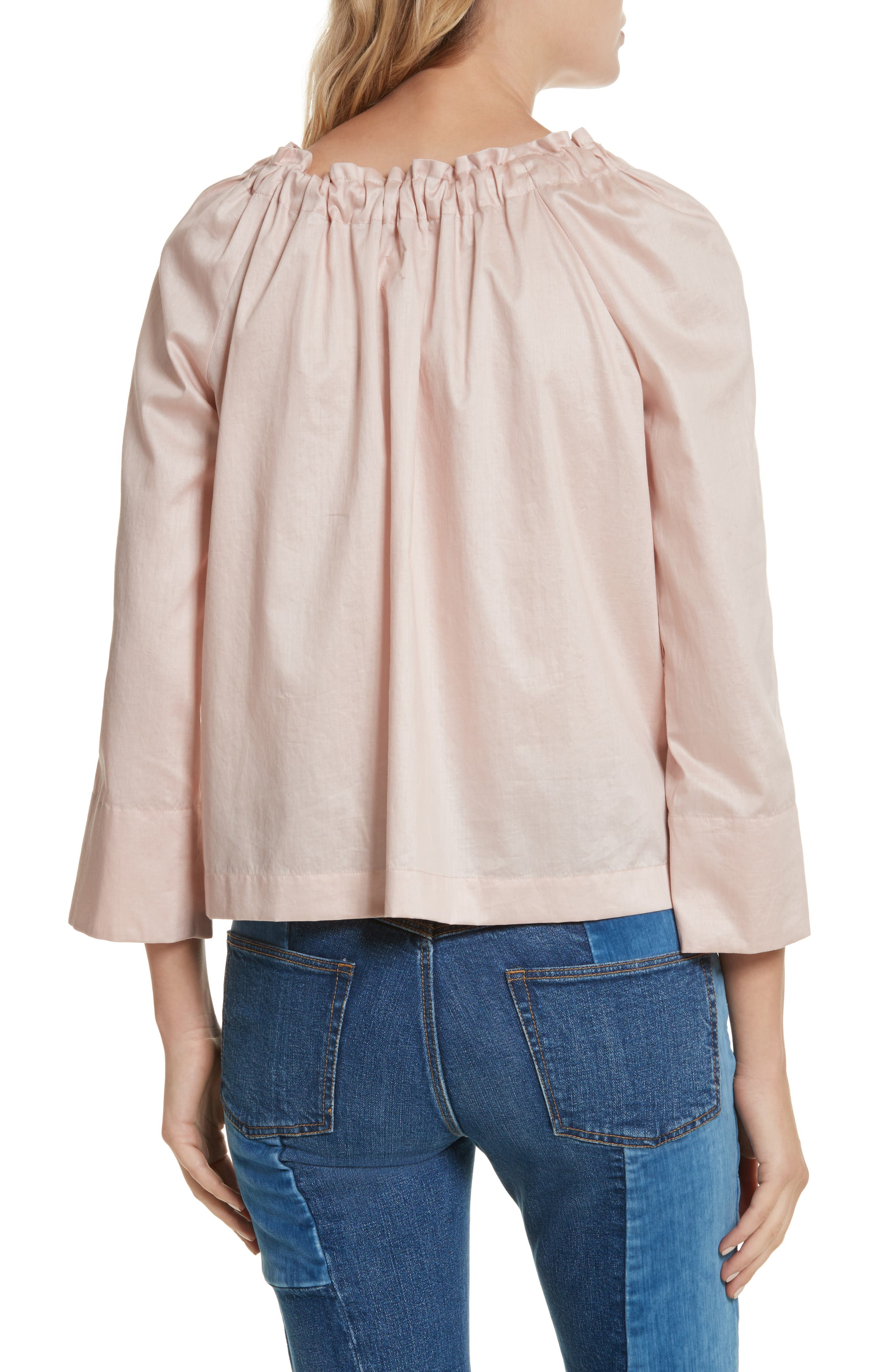 Bow Neck Washed Sateen Top,                             Alternate thumbnail 2, color,                             693