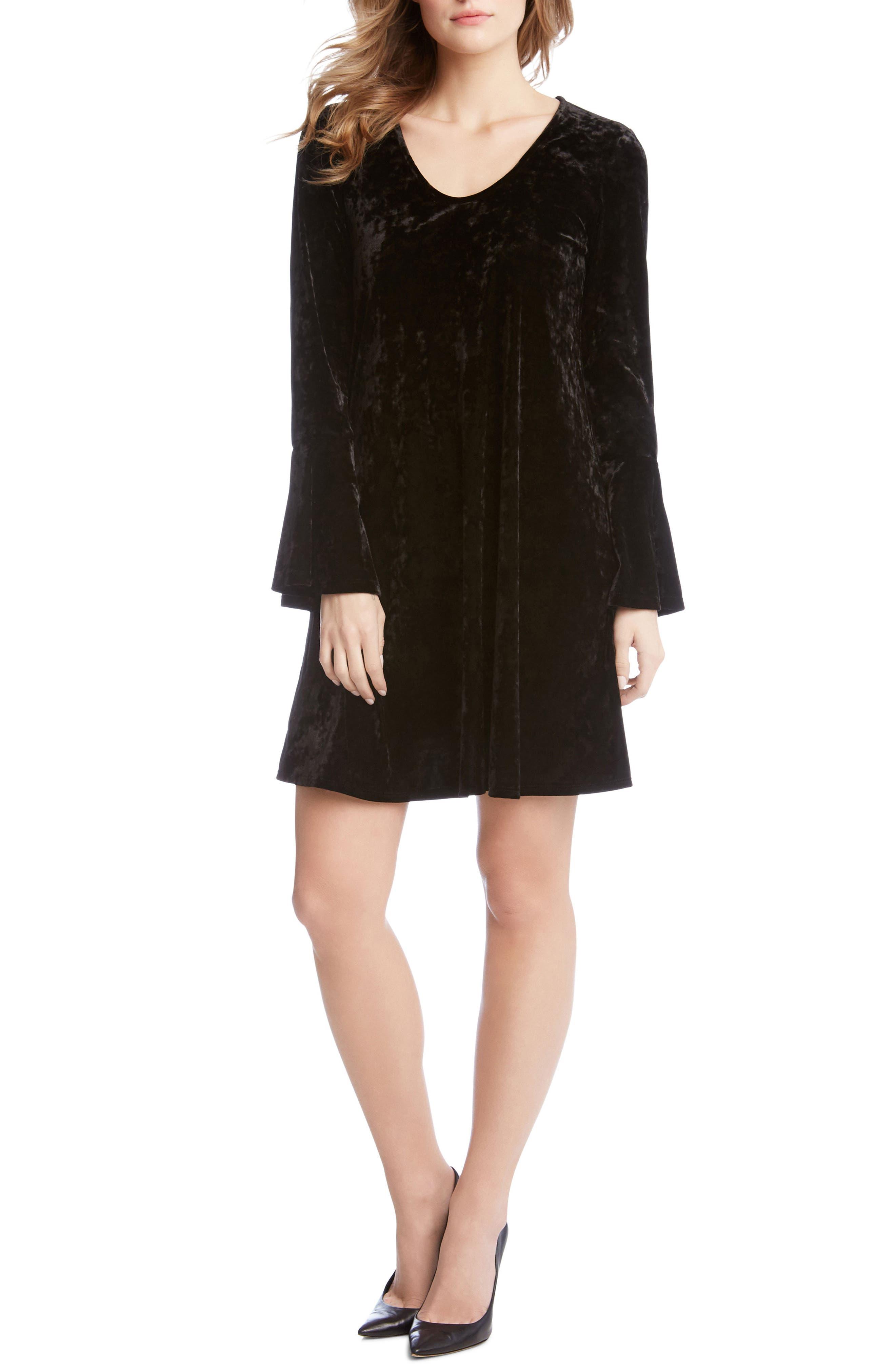 Bell Sleeve Velvet Dress,                             Alternate thumbnail 3, color,                             001