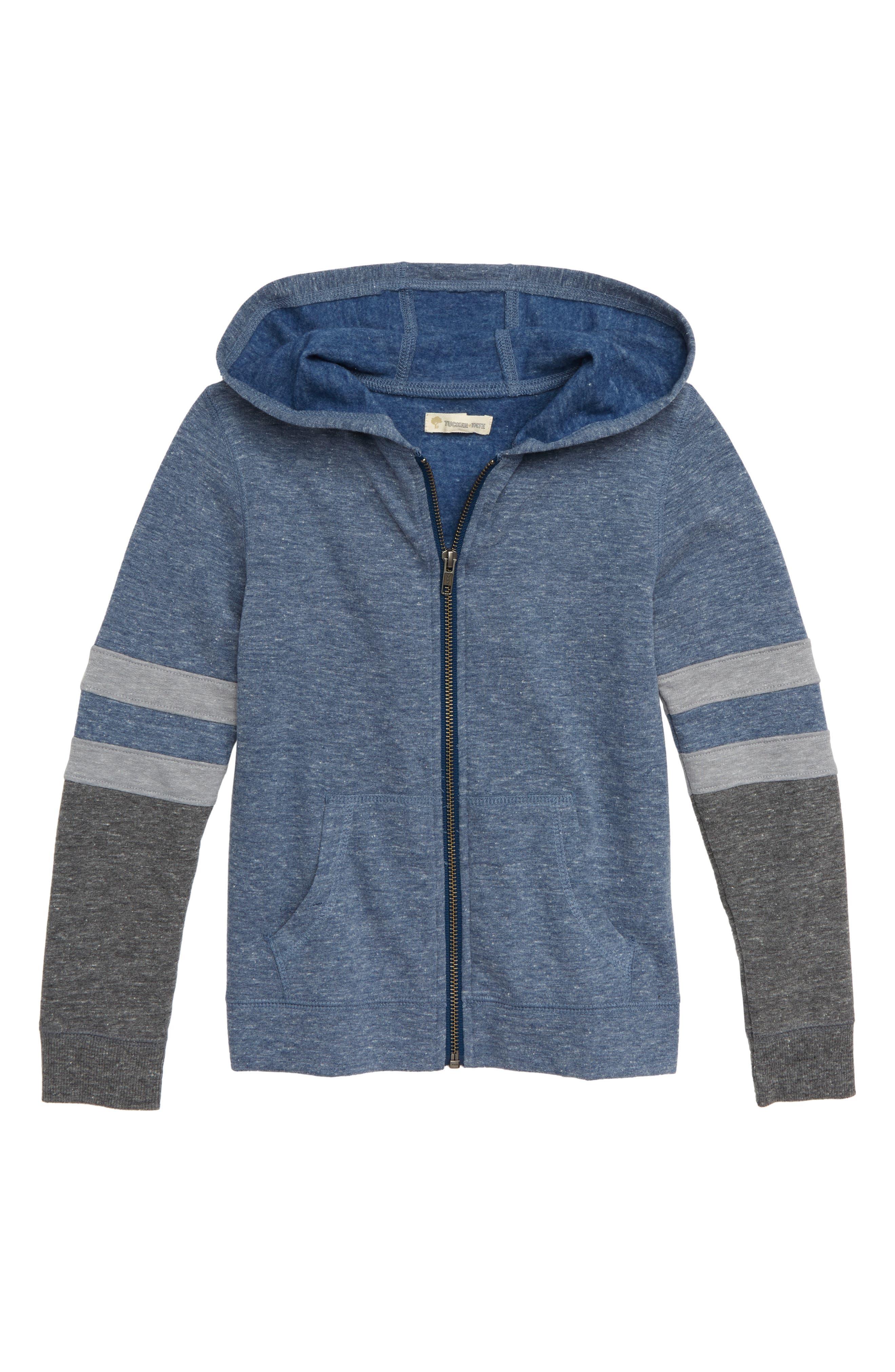 Colorblock Zip Crew Sweatshirt,                         Main,                         color, NAVY DENIM