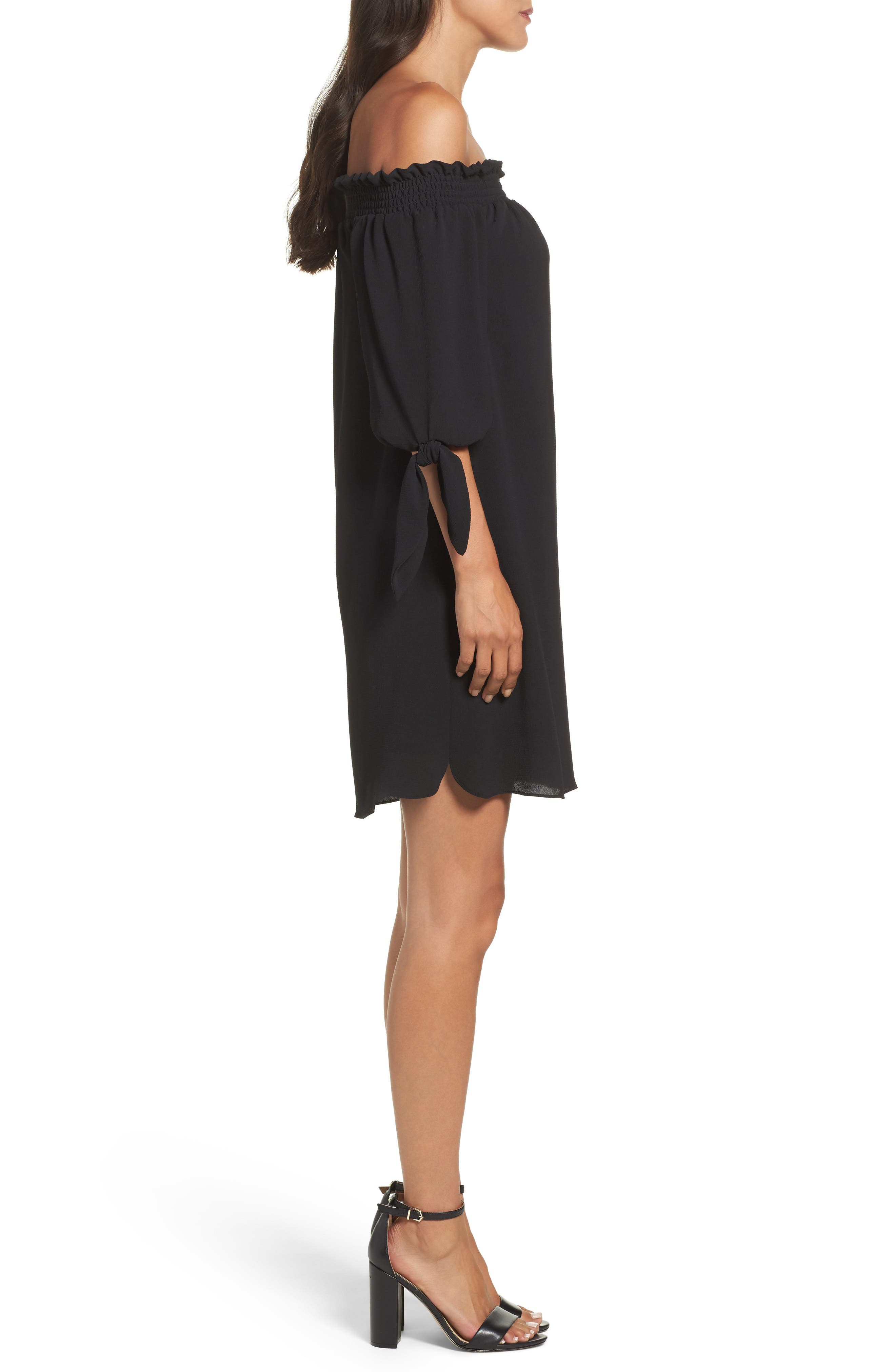 Stretch Crepe Shift Dress,                             Alternate thumbnail 3, color,                             001