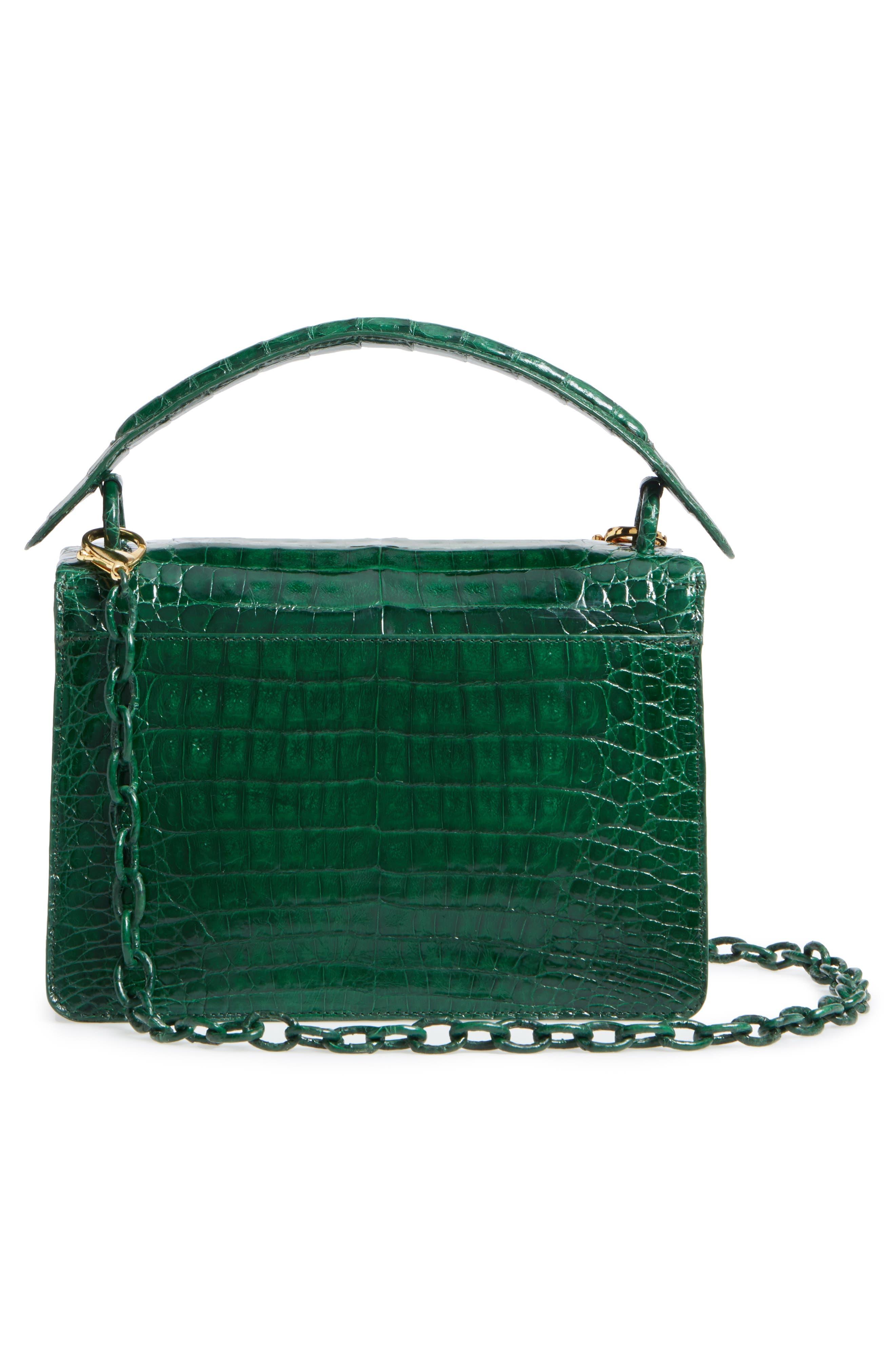 Divino Genuine Crocodile Top Handle Bag,                             Alternate thumbnail 3, color,                             KELLY GREEN SHINY