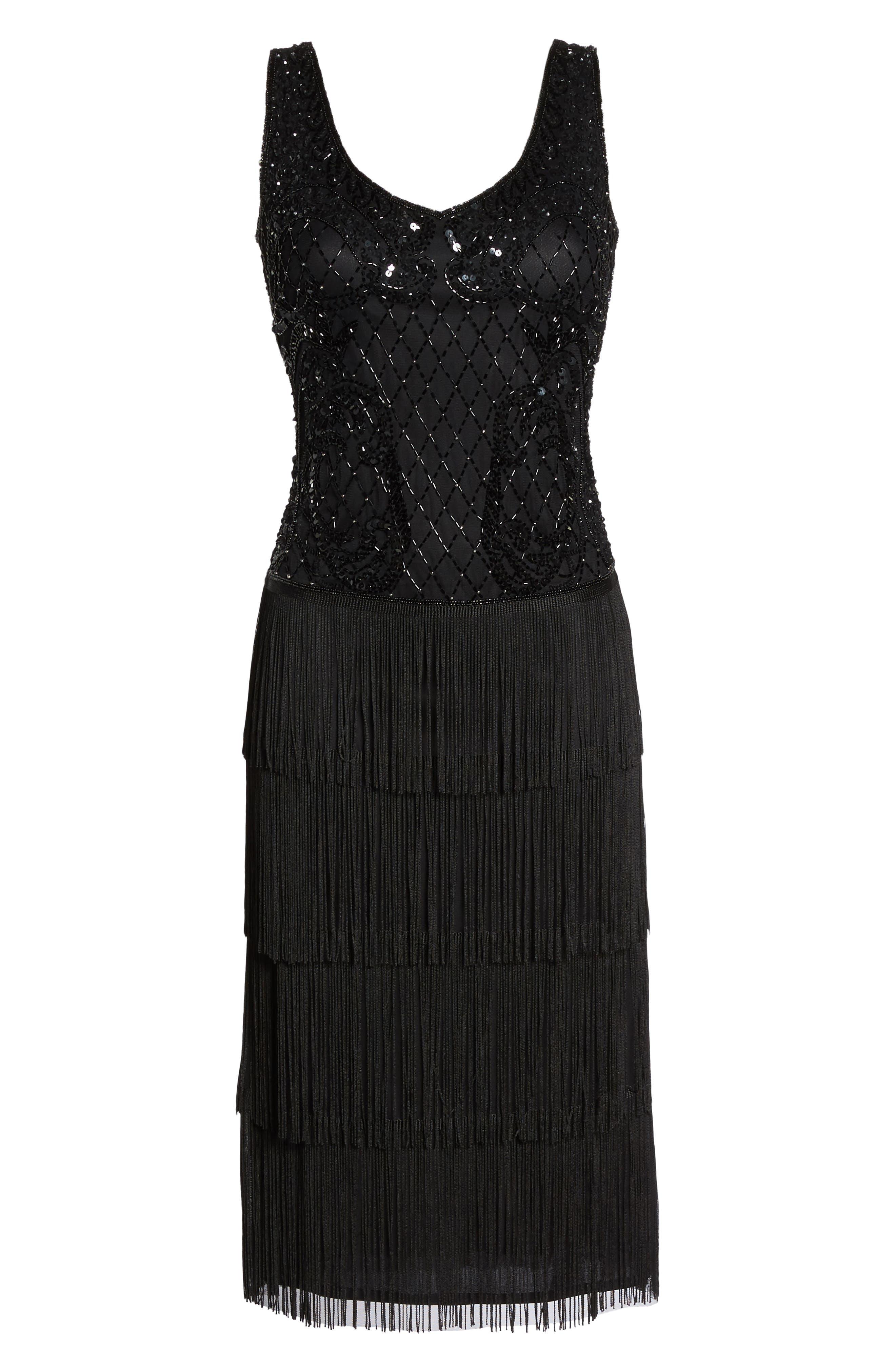 Embellished Fringe Tiered Sheath Dress,                             Alternate thumbnail 6, color,                             001