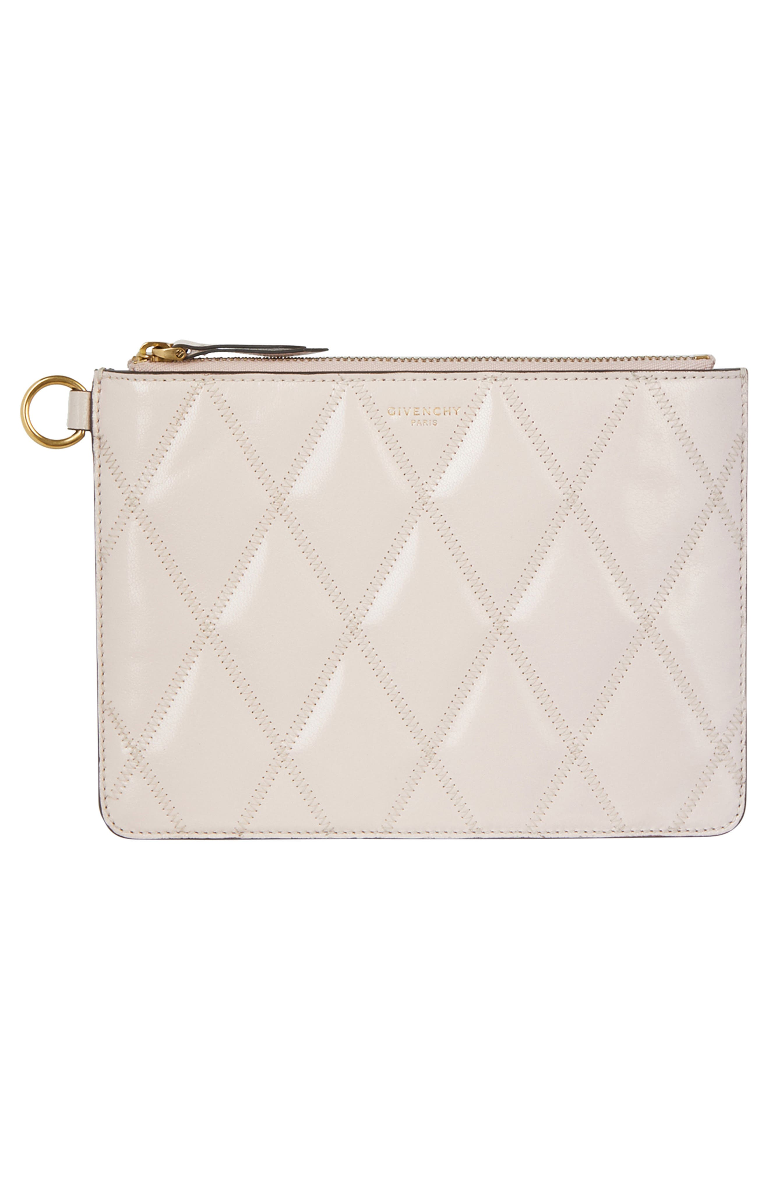 GIVENCHY,                             Leather Card Case & Two Pouches Set,                             Alternate thumbnail 4, color,                             PALE PINK
