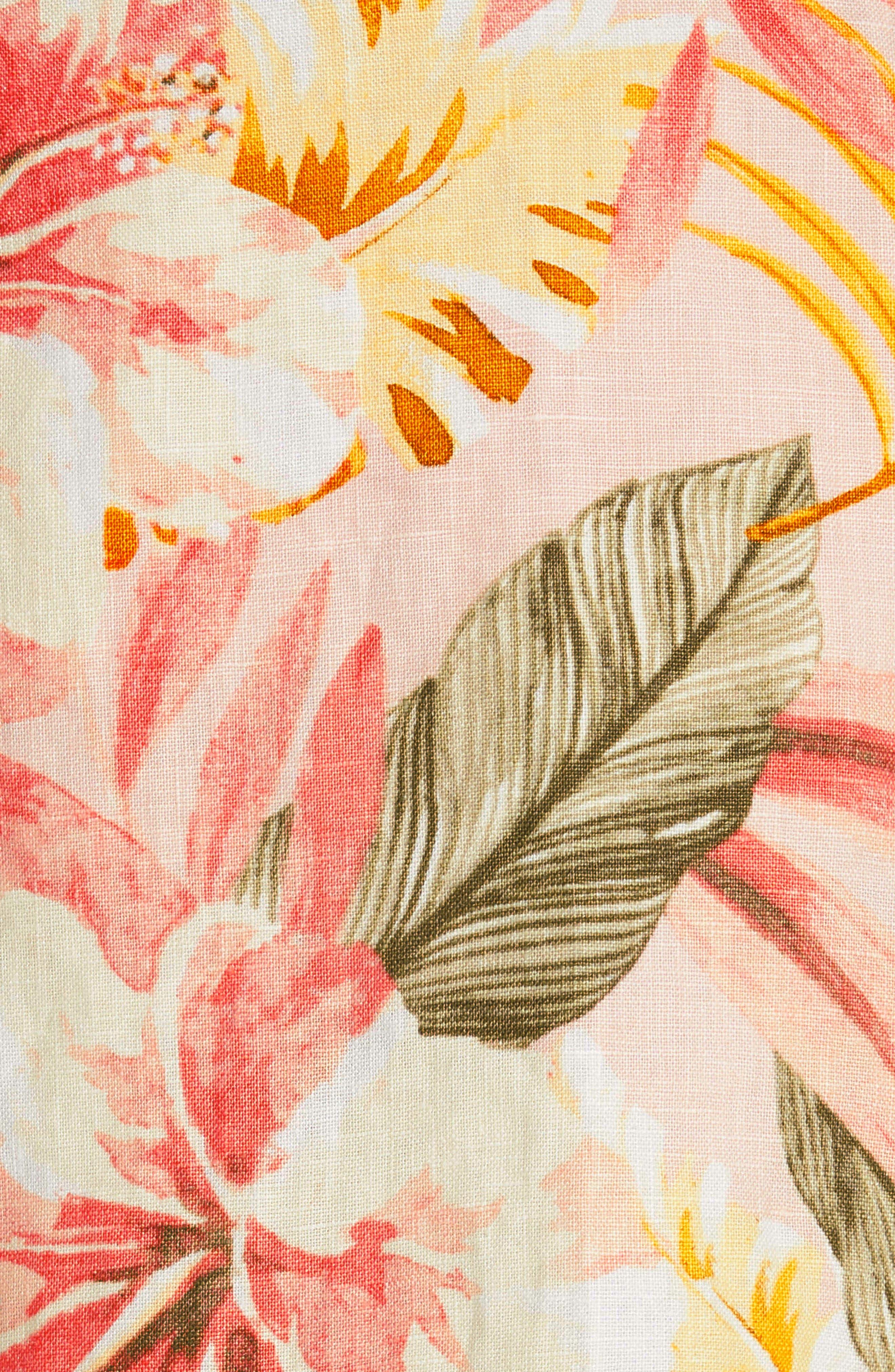 Radhiya Linen Floral Ruffle Skirt,                             Alternate thumbnail 5, color,                             660