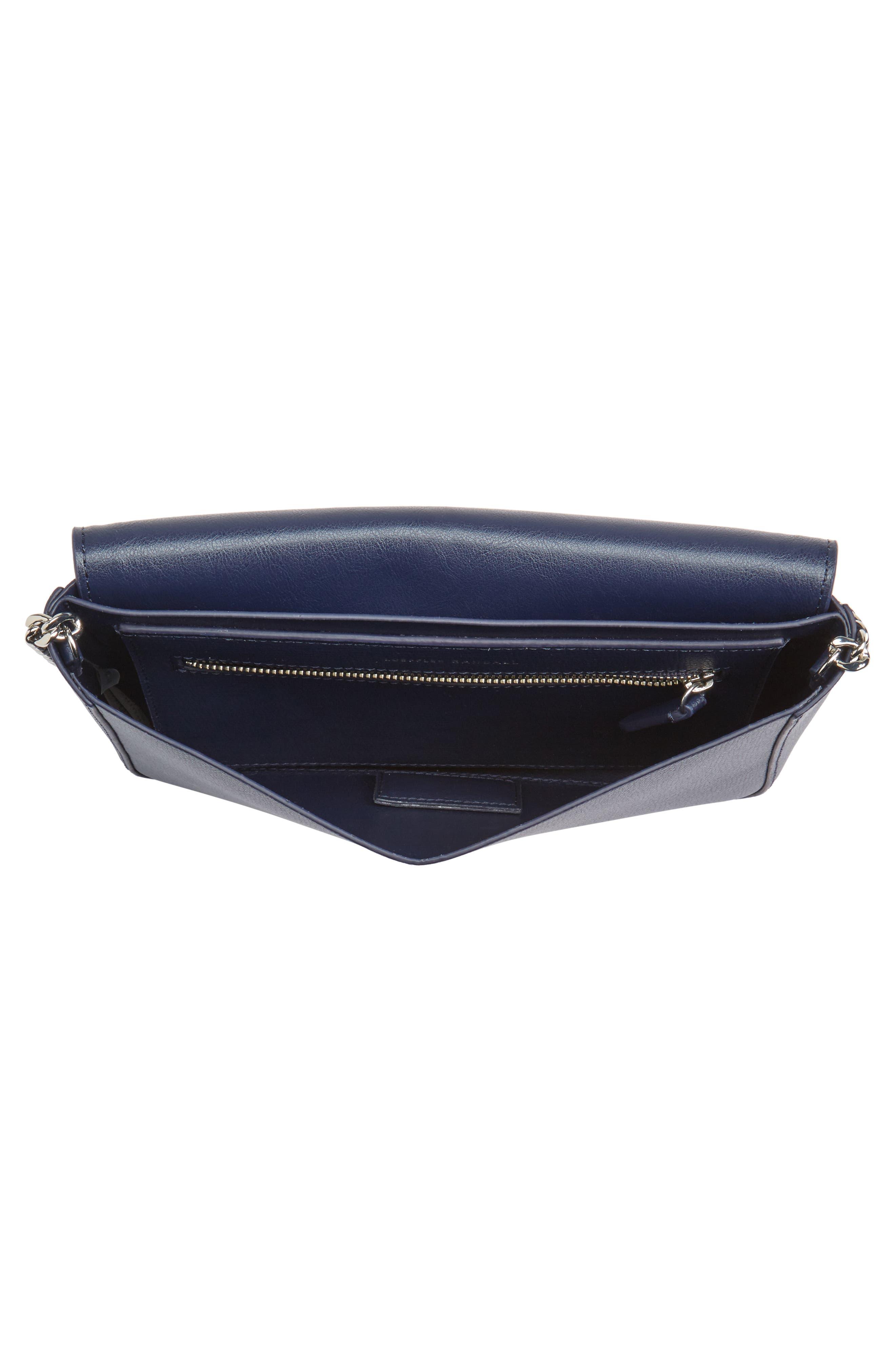 Lock Leather Flap Clutch/Shoulder Bag,                             Alternate thumbnail 4, color,