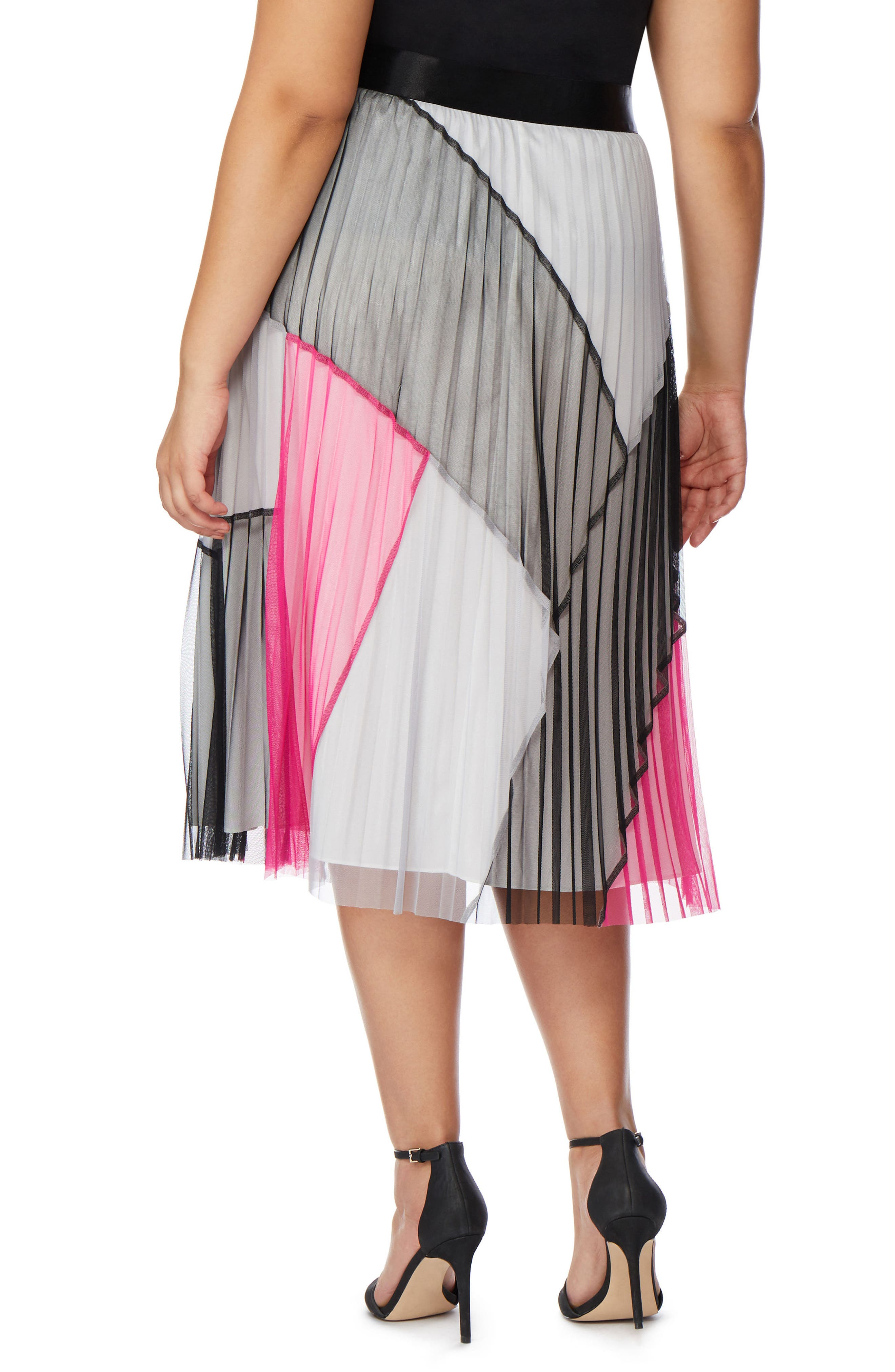 Colorblock Pleated Mesh Skirt,                             Alternate thumbnail 2, color,                             008
