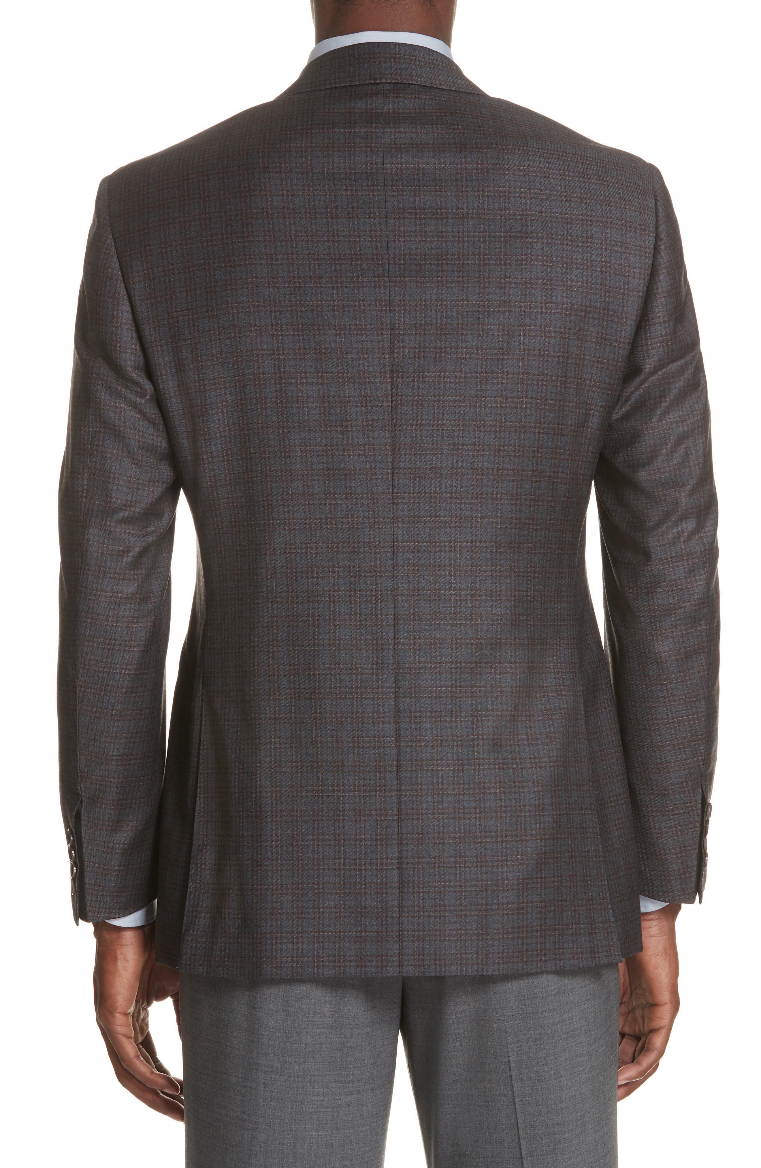Classic Fit Plaid Wool Sport Coat,                             Alternate thumbnail 2, color,                             GREY/ BROWN