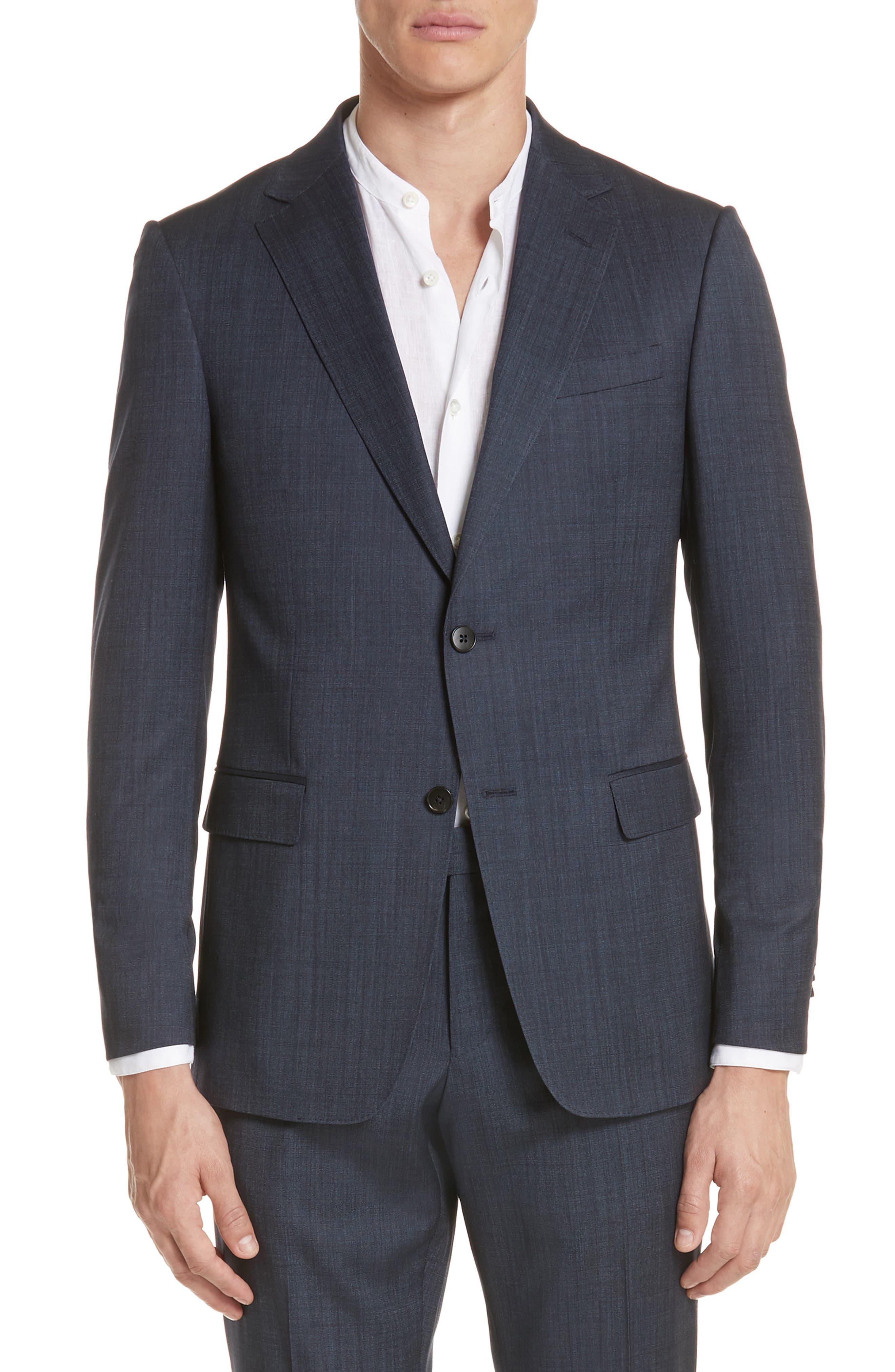 Trim Fit Solid Wool & Silk Suit,                             Alternate thumbnail 5, color,                             412