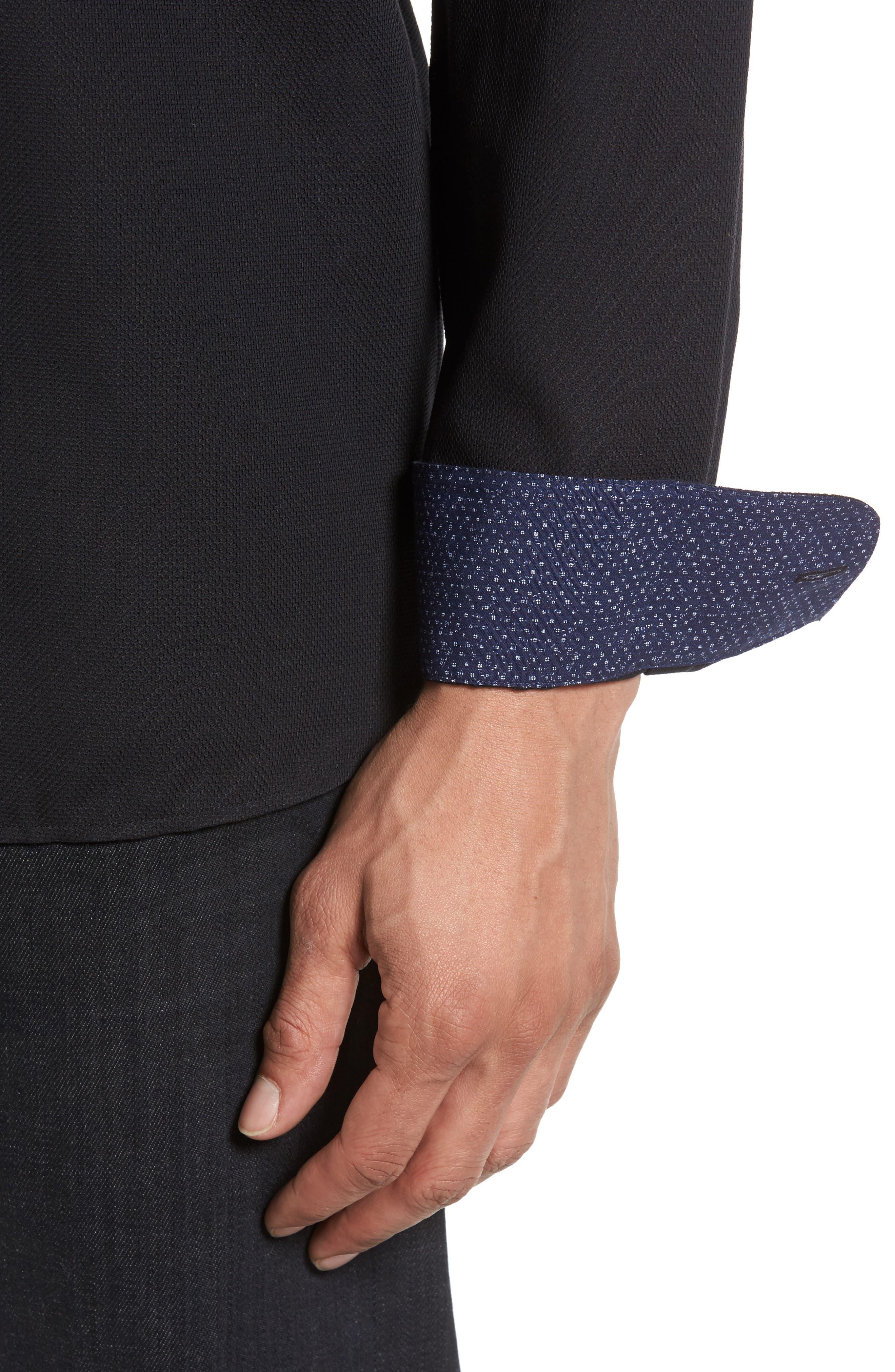Nordlux Modern Slim Fit Stretch Cotton Sport Shirt,                             Alternate thumbnail 4, color,                             001