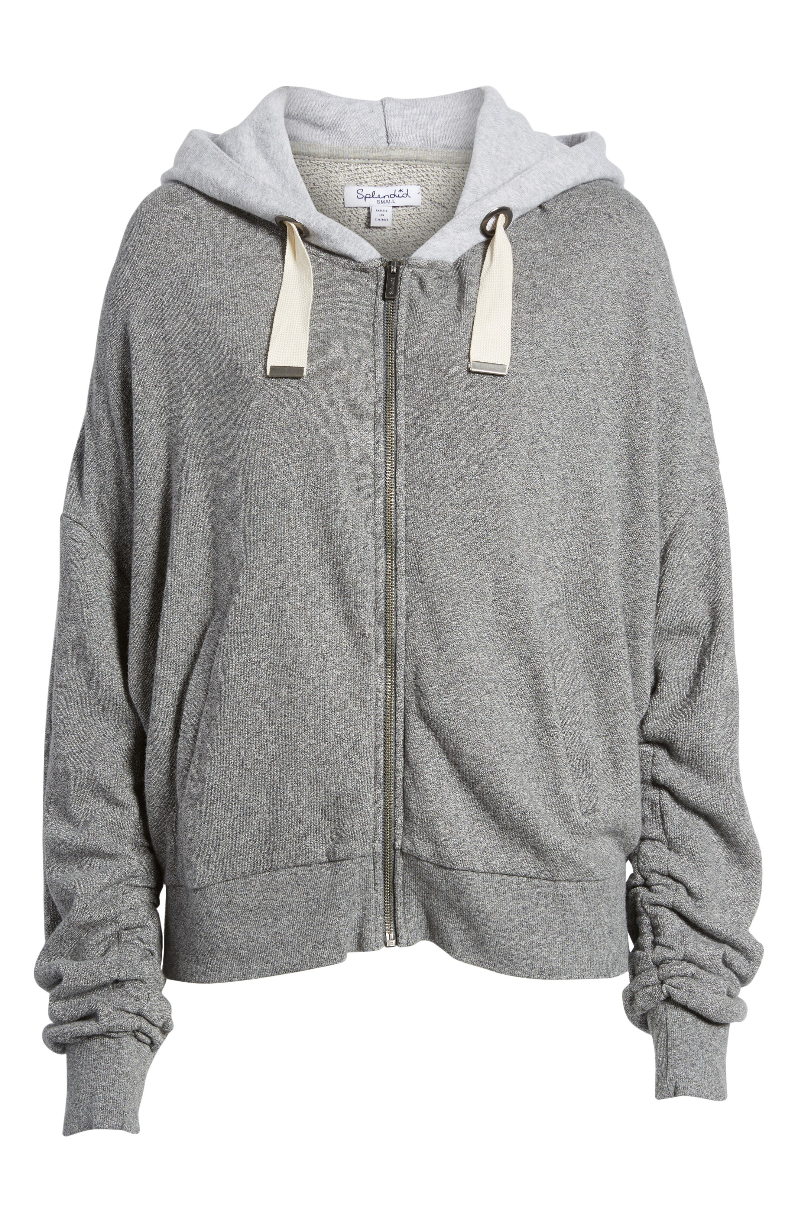 Ruched Sleeve Hoodie,                             Alternate thumbnail 6, color,                             HEATHER GREY