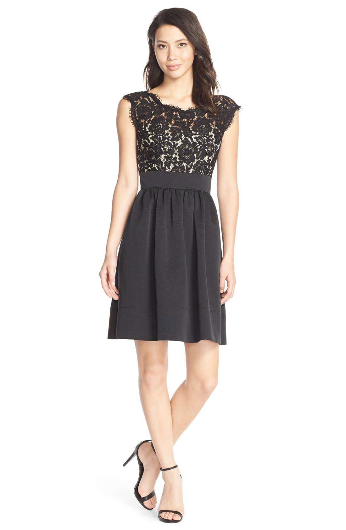Lace & Faille Dress,                             Alternate thumbnail 3, color,                             001