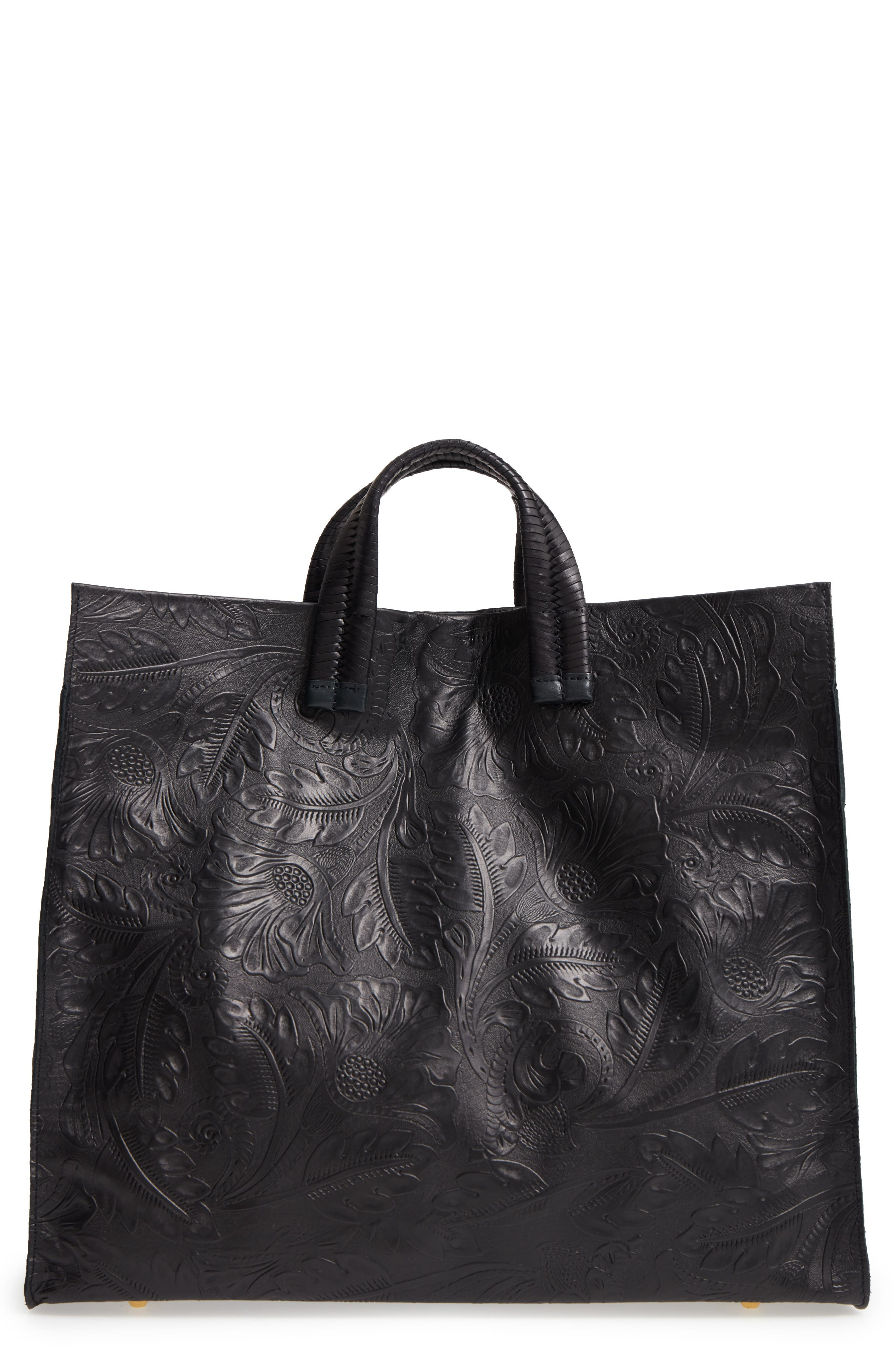 Simple Flower Embossed Leather Tote,                         Main,                         color, 001