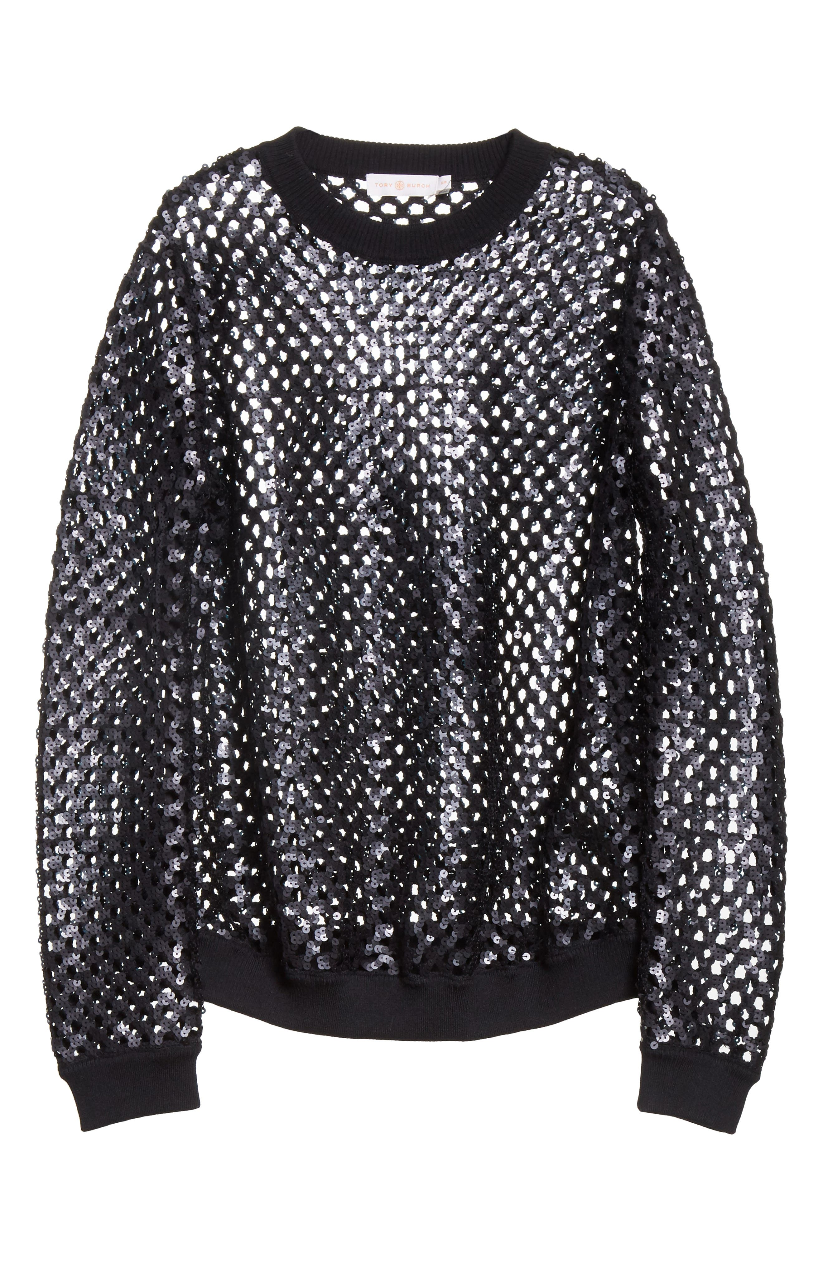Lansing Sequin Mesh Sweater,                             Alternate thumbnail 6, color,                             001