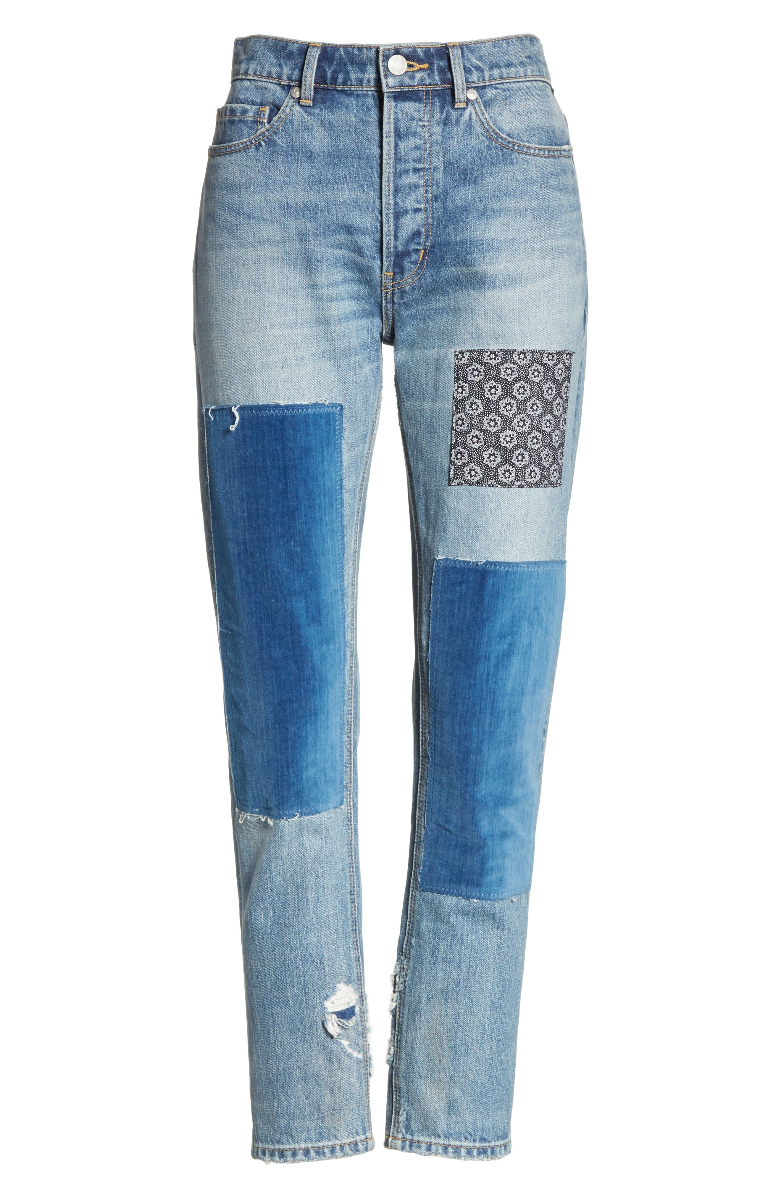 Patched Velvet & Rigid Denim Jeans,                             Alternate thumbnail 6, color,