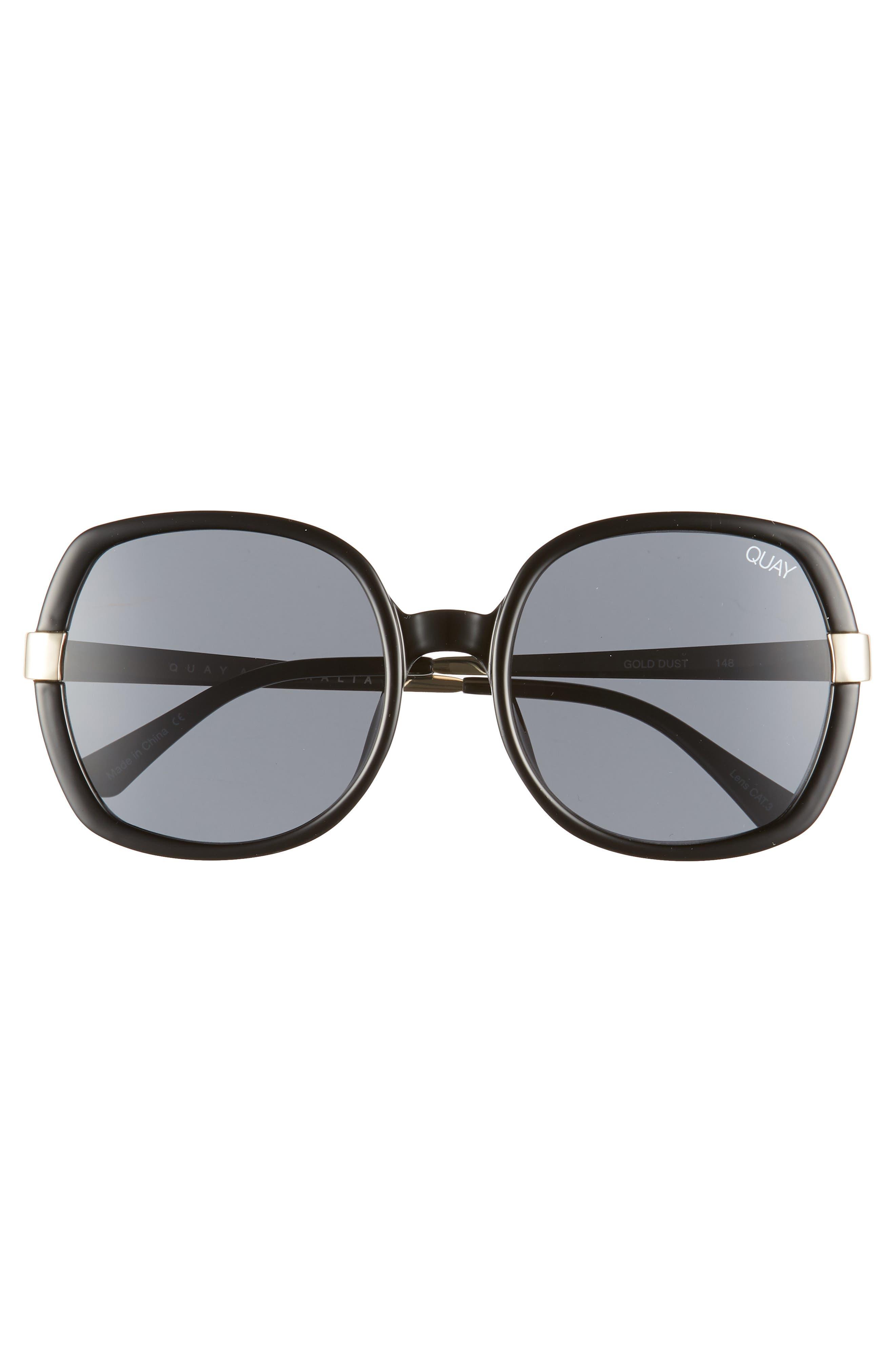 Gold Dust 55mm Square Sunglasses,                             Alternate thumbnail 3, color,                             BLACK / SMOKE