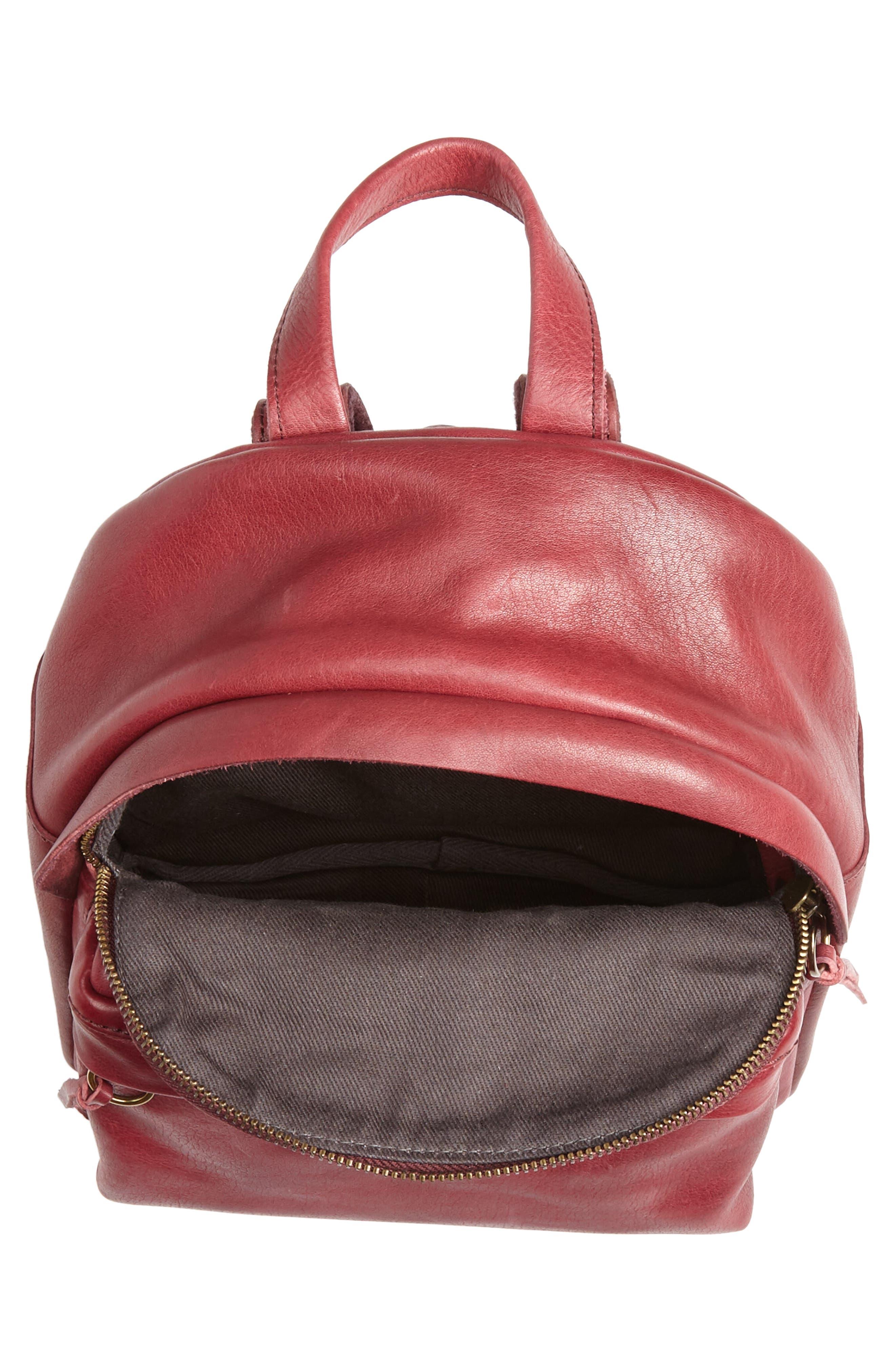 Mini Lorimer Leather Backpack,                             Alternate thumbnail 4, color,                             DARK CABERNET
