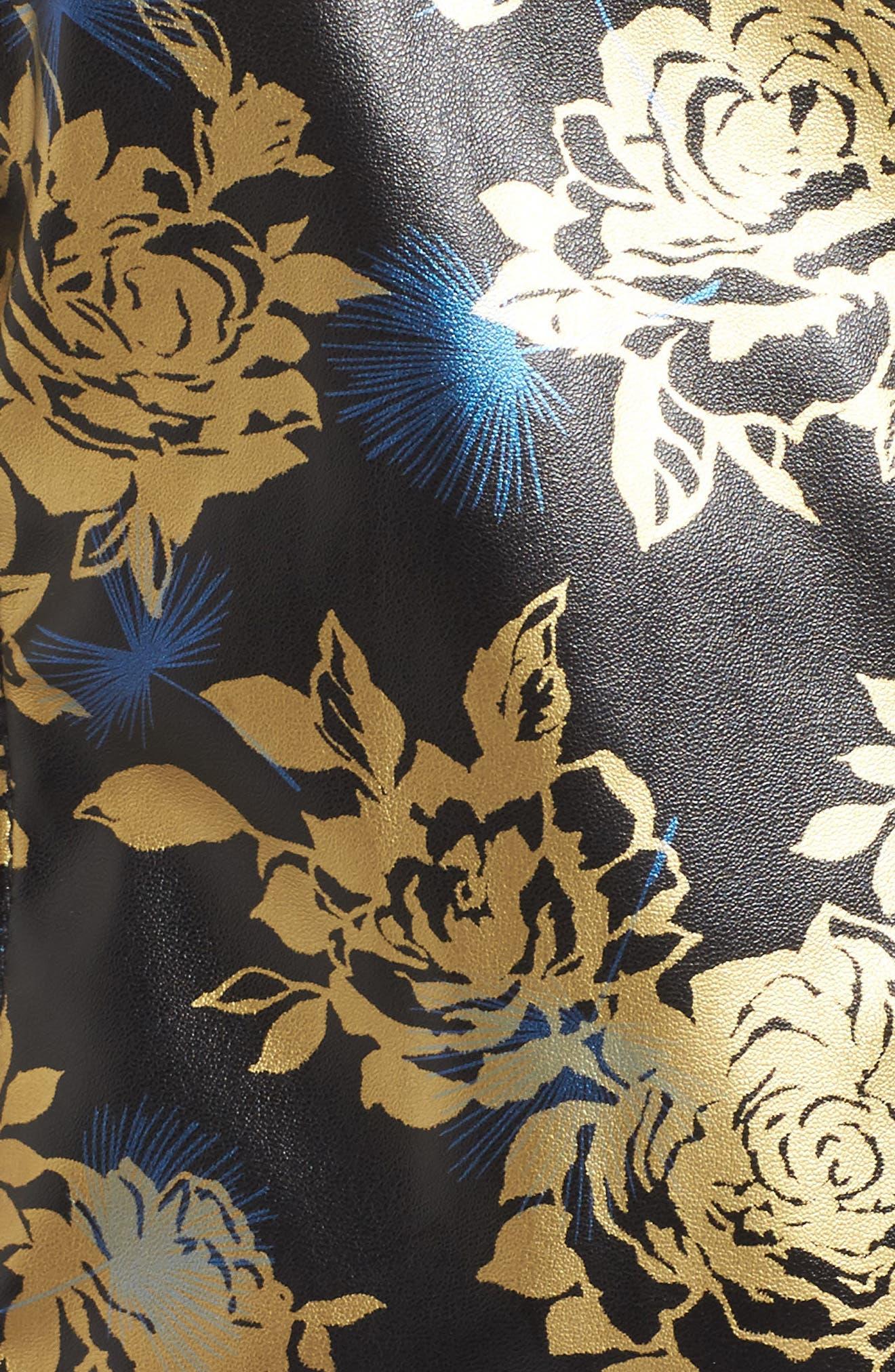 Metallic Floral Biker Jacket,                             Alternate thumbnail 6, color,                             710
