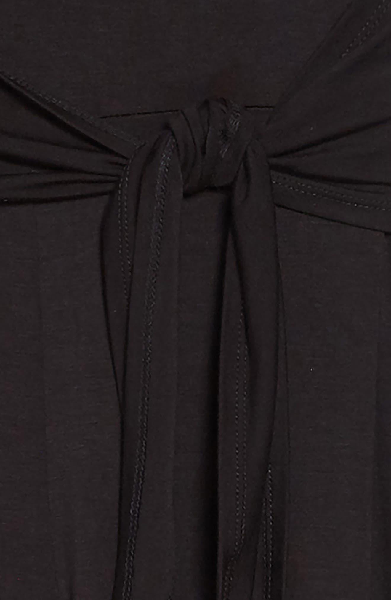 Tie Front Crop Jumpsuit,                             Alternate thumbnail 2, color,                             001