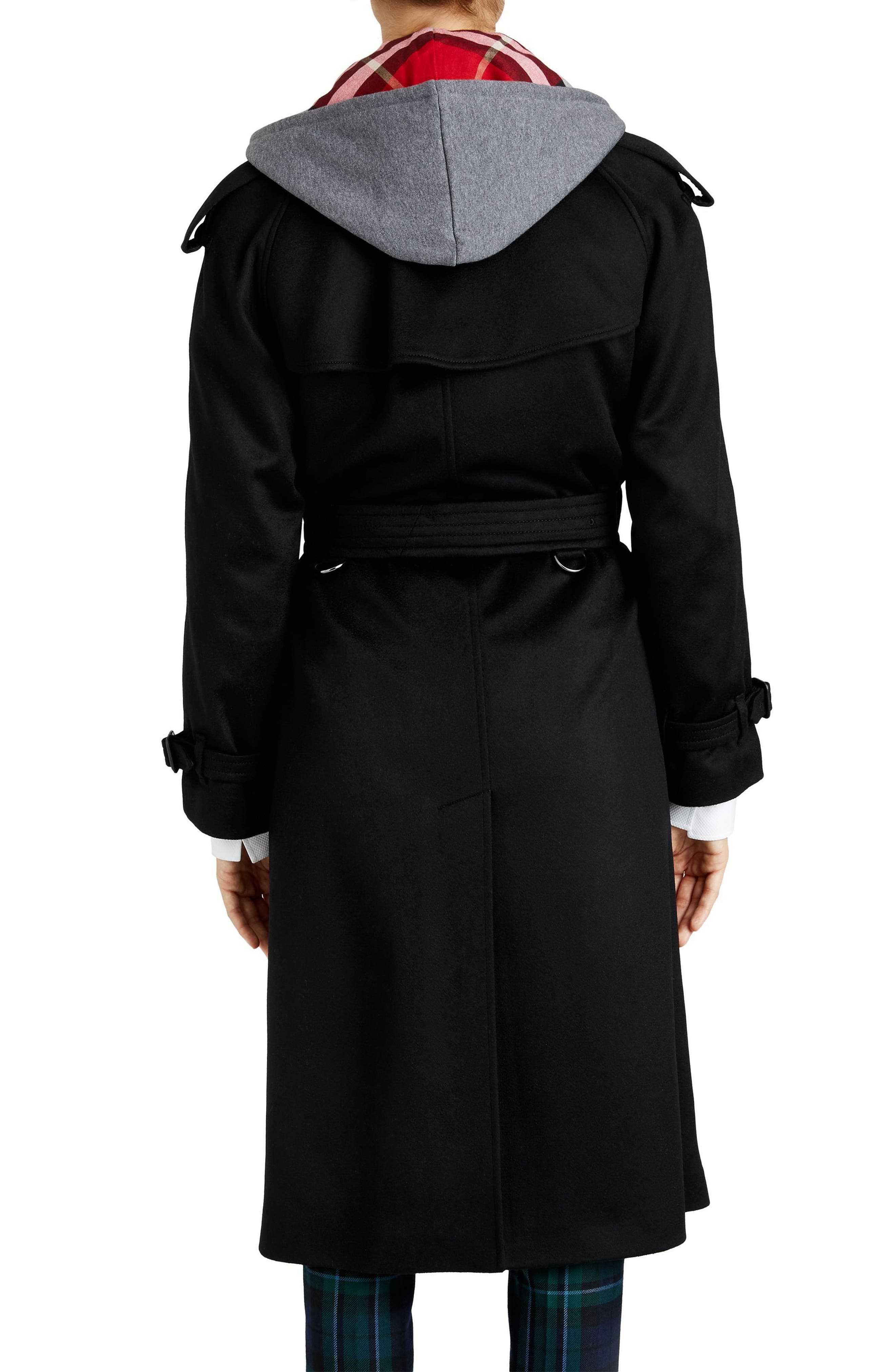 Eastheath Cashmere Trench Coat,                             Alternate thumbnail 2, color,                             BLACK