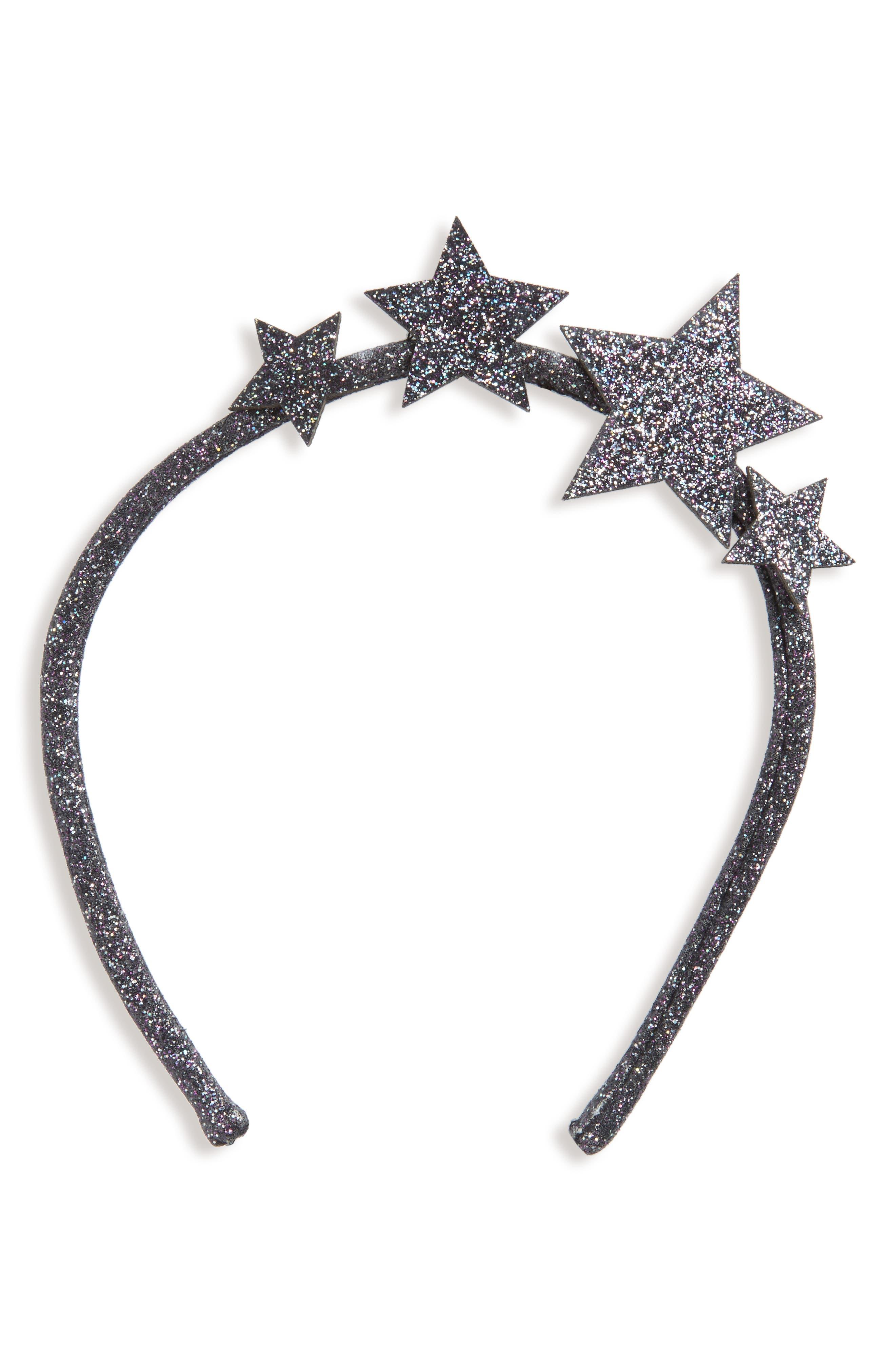 Wild and Gorgeous Glitter Star Headband,                             Main thumbnail 1, color,                             001
