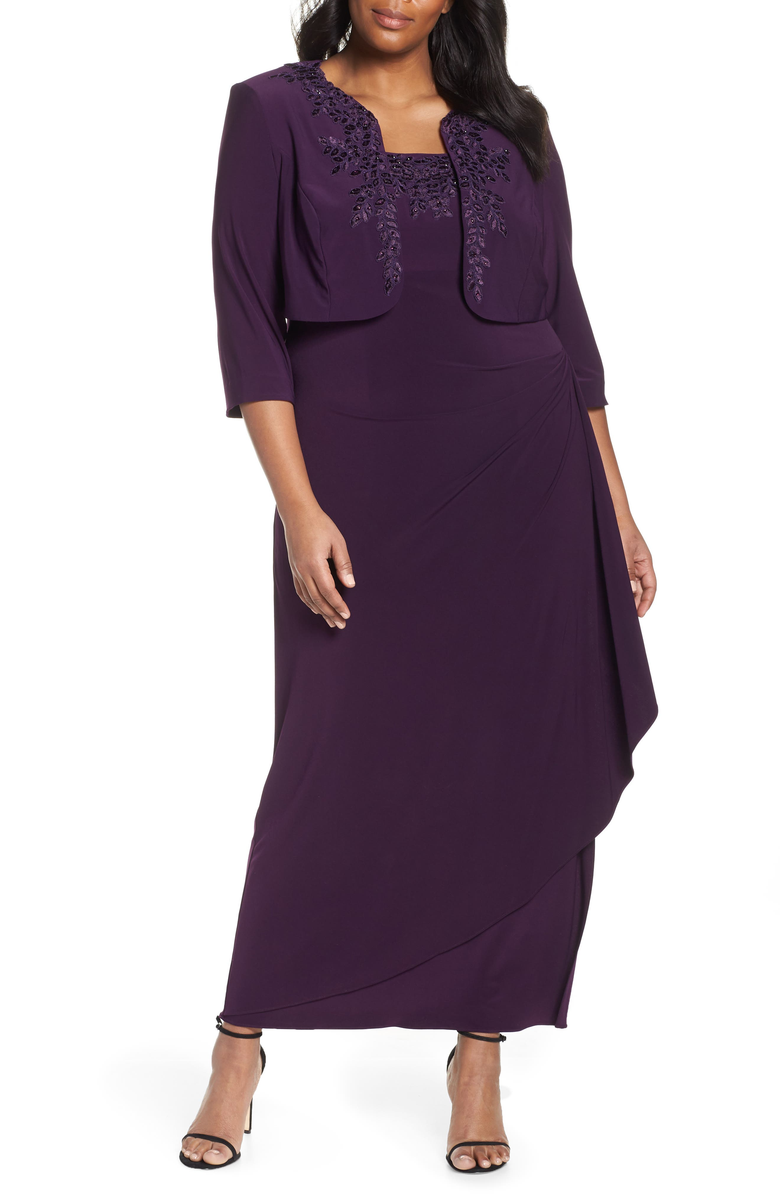 Plus Size Alex Evenings Side Ruched Evening Dress With Bolero, Purple