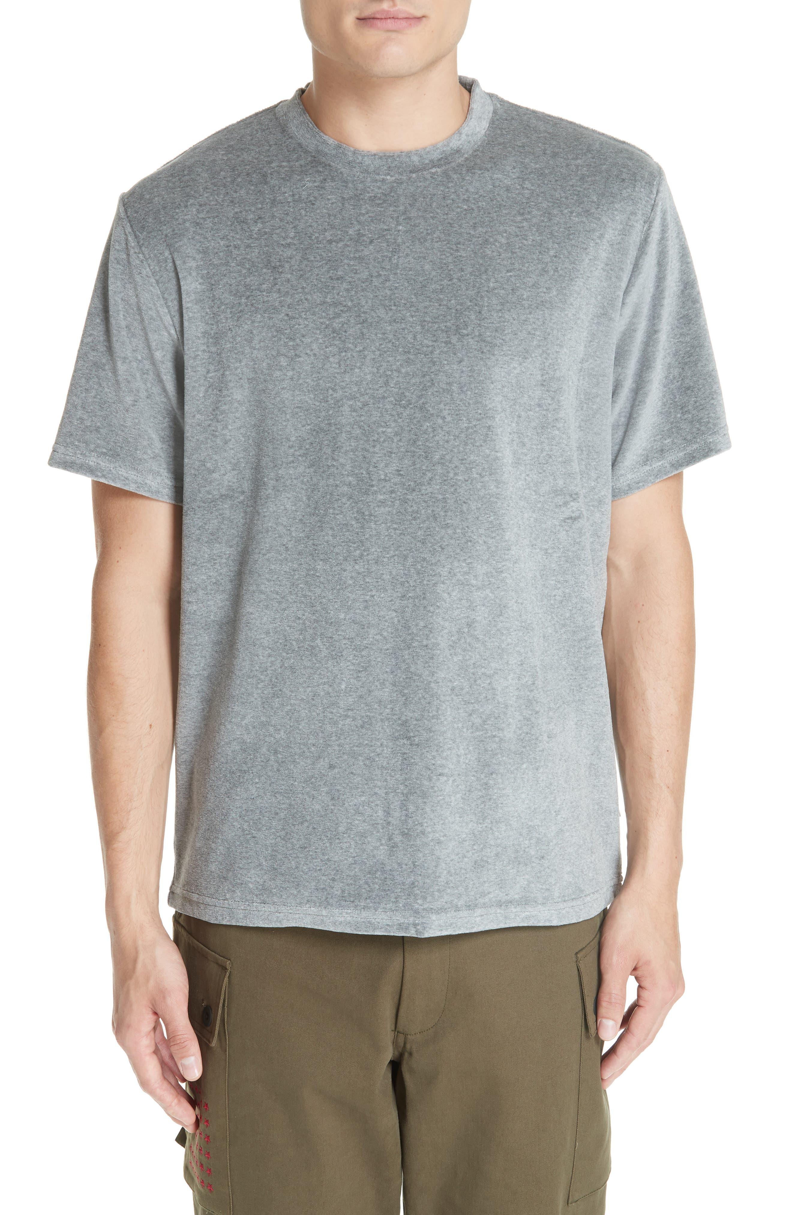 Velour T-Shirt,                         Main,                         color, HEATHER GREY