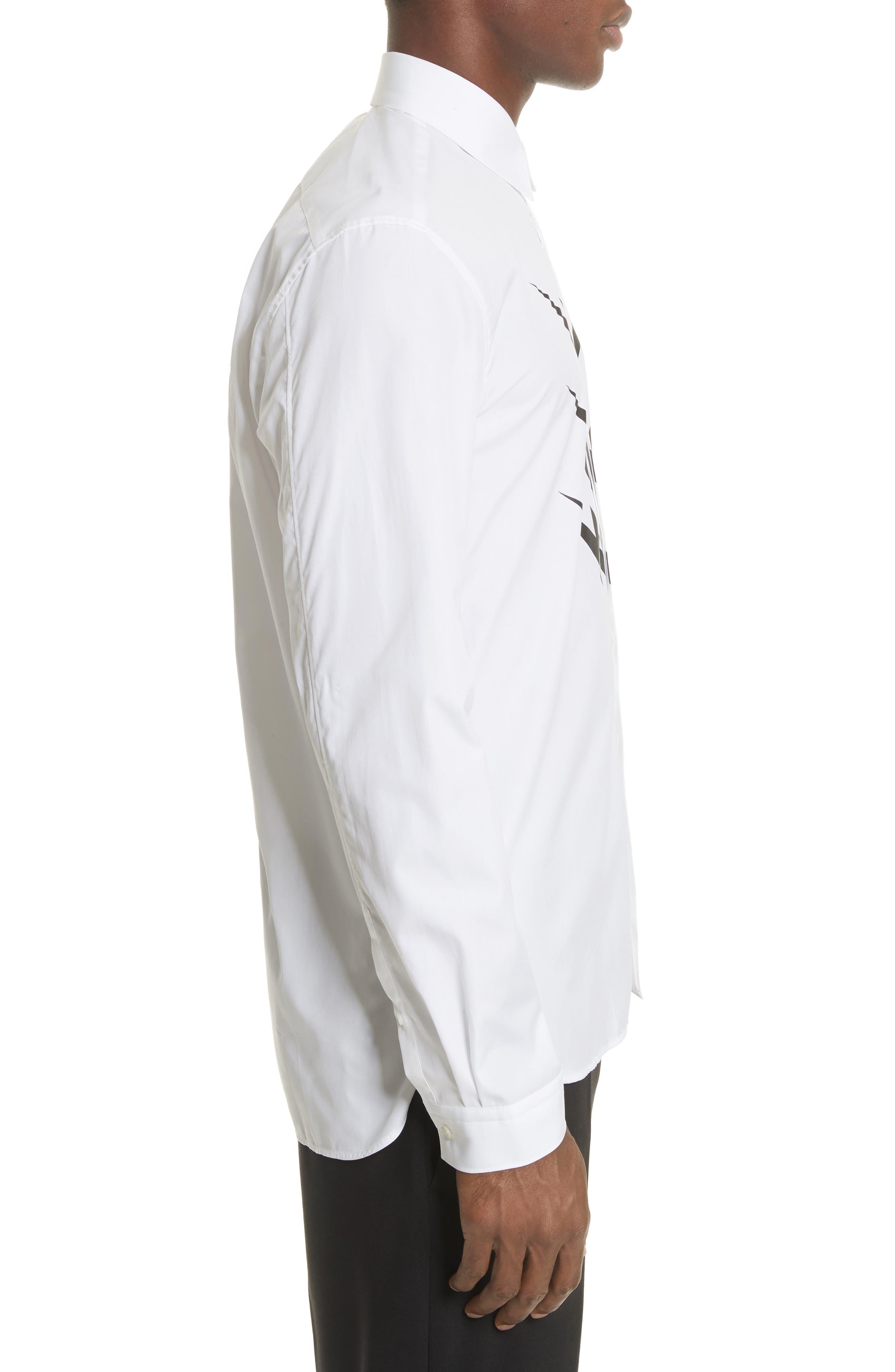 Lightning Bolt Print Sport Shirt,                             Alternate thumbnail 4, color,                             100