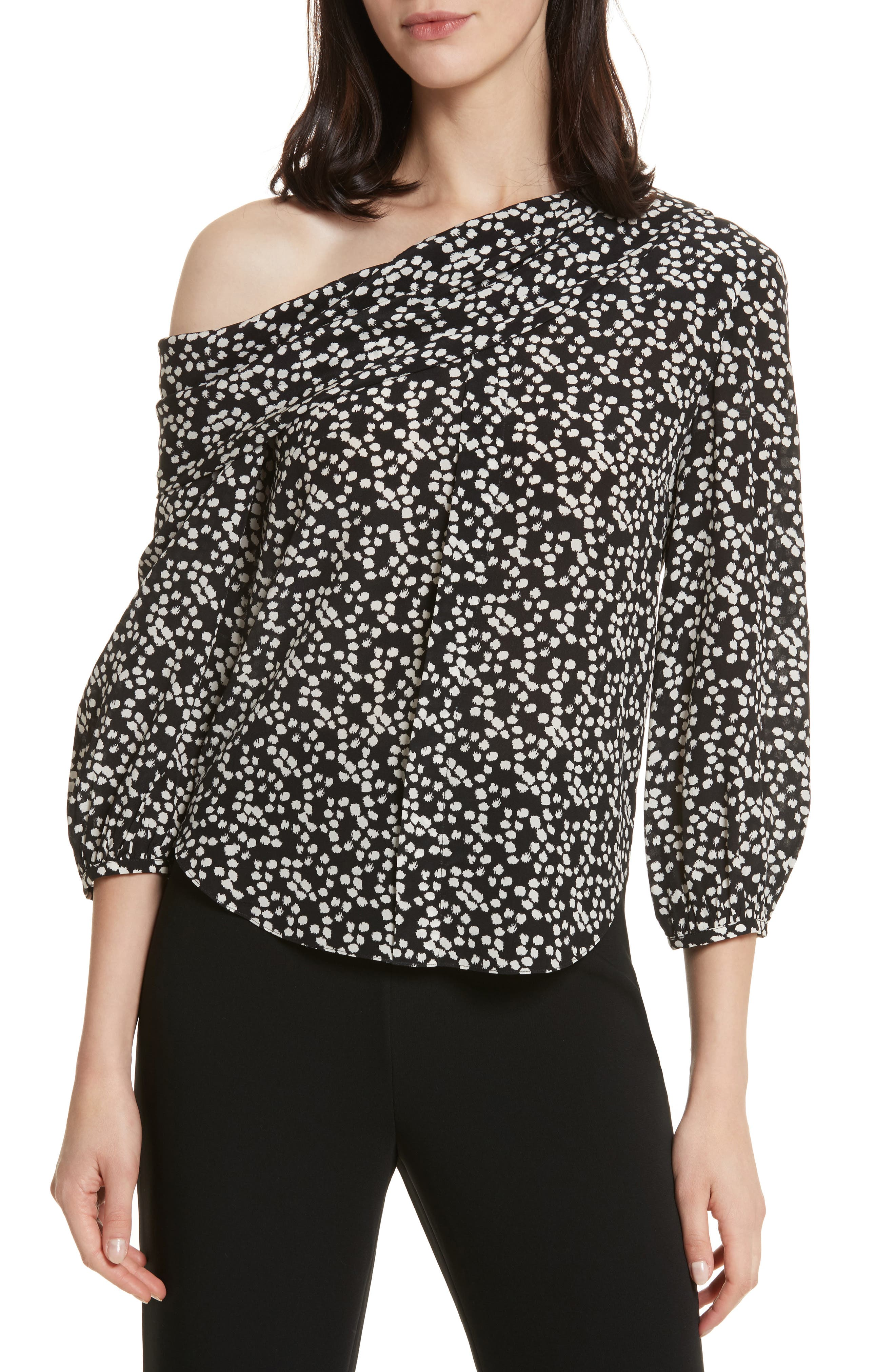 Ness Print Silk Off the Shoulder Top,                             Main thumbnail 1, color,