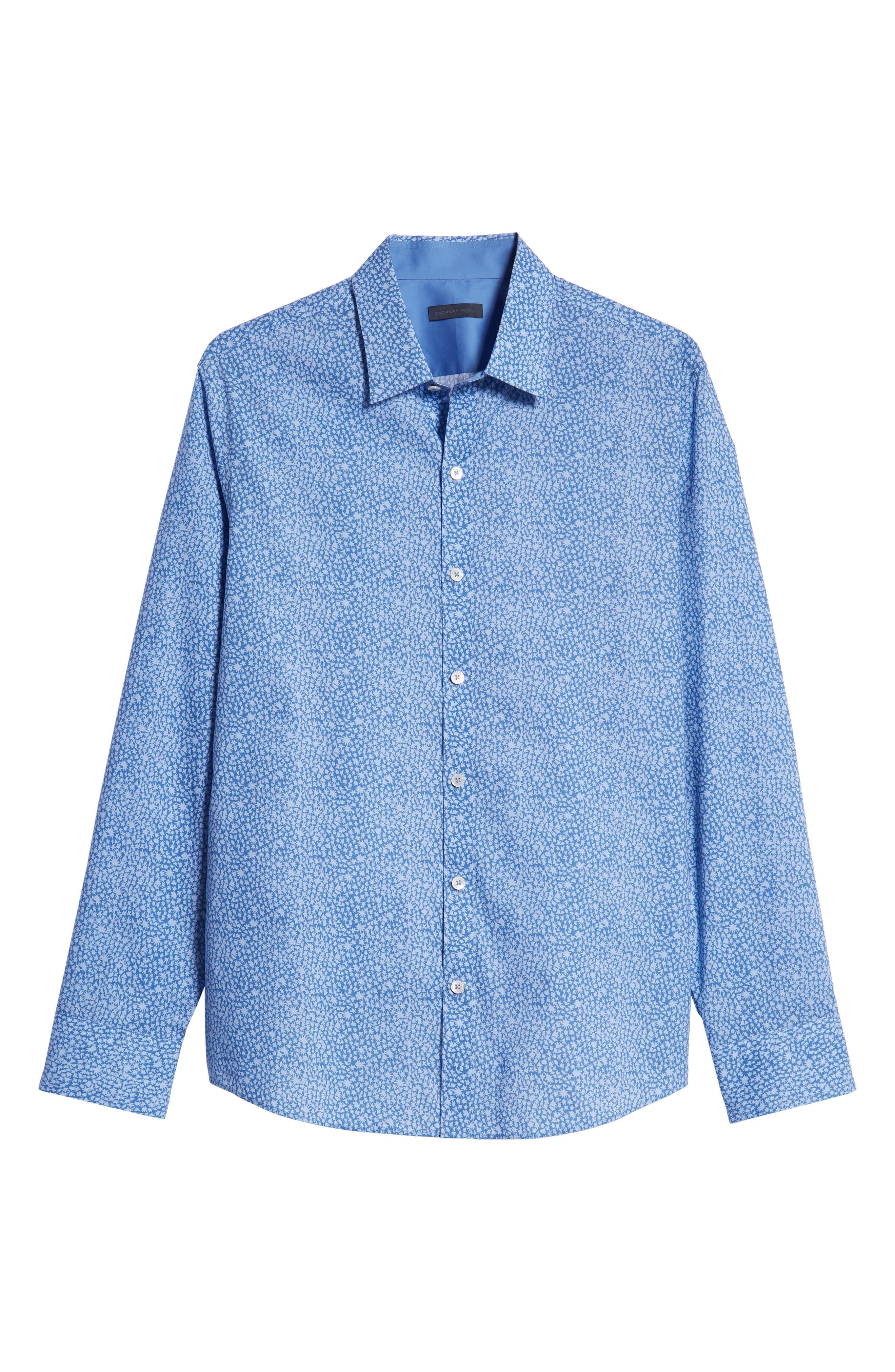 ZACHARY PRELL,                             Elliot Regular Fit Sport Shirt,                             Alternate thumbnail 5, color,                             OCEAN