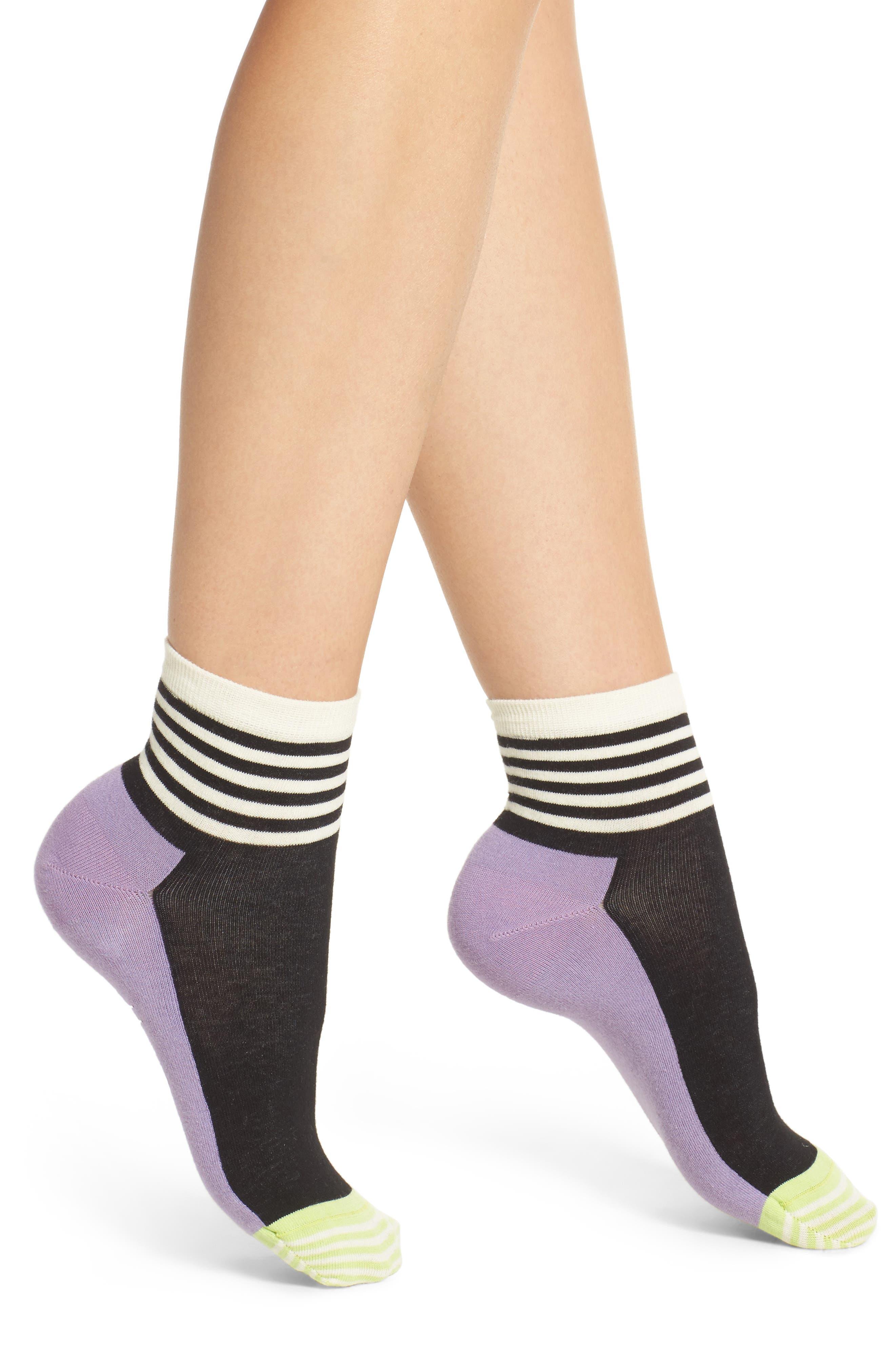 Stripe Colorblock Anklet Socks,                             Main thumbnail 1, color,                             515