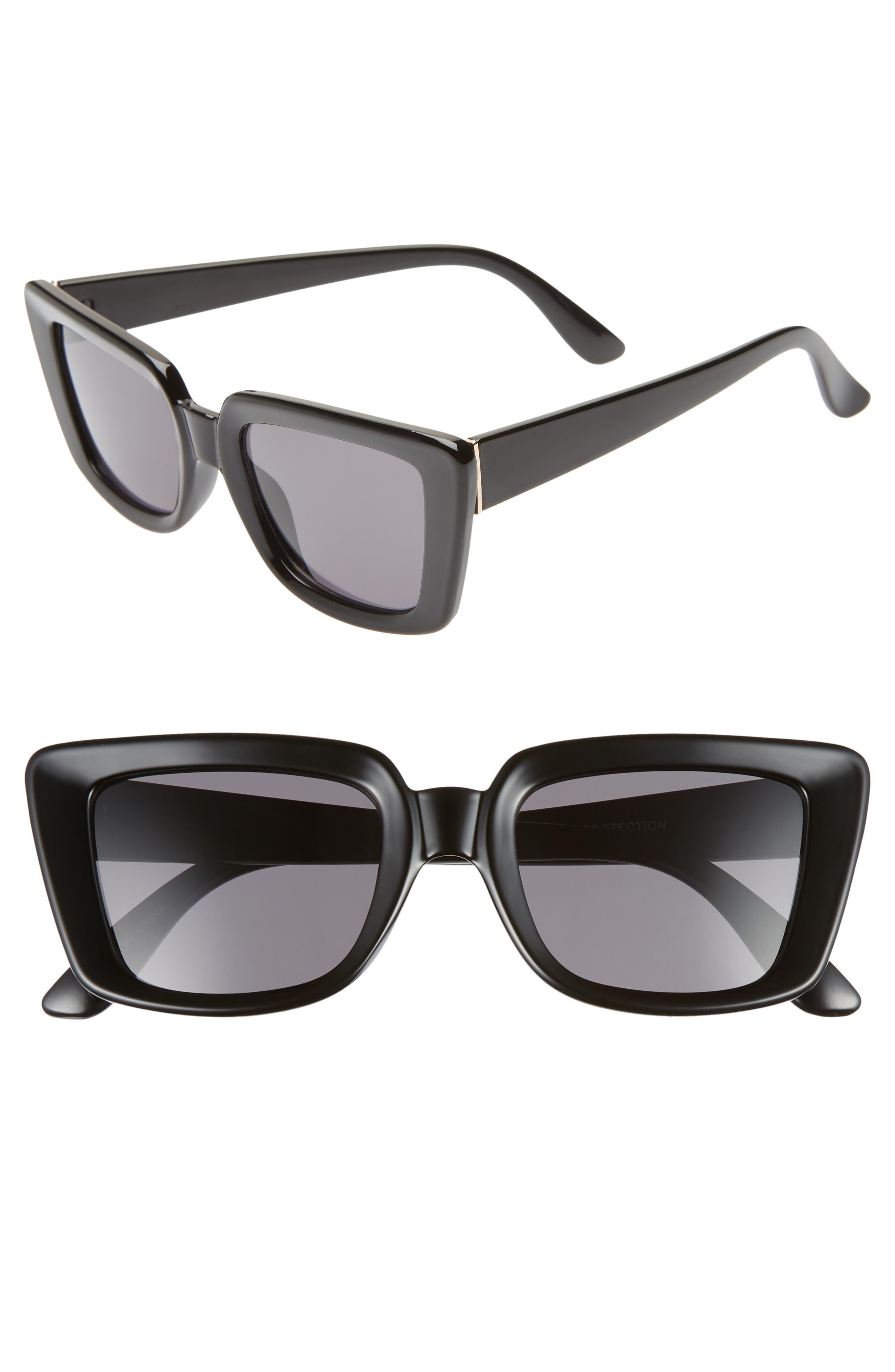 68mm Oversize Square Sunglasses,                         Main,                         color, BLACK/ GOLD