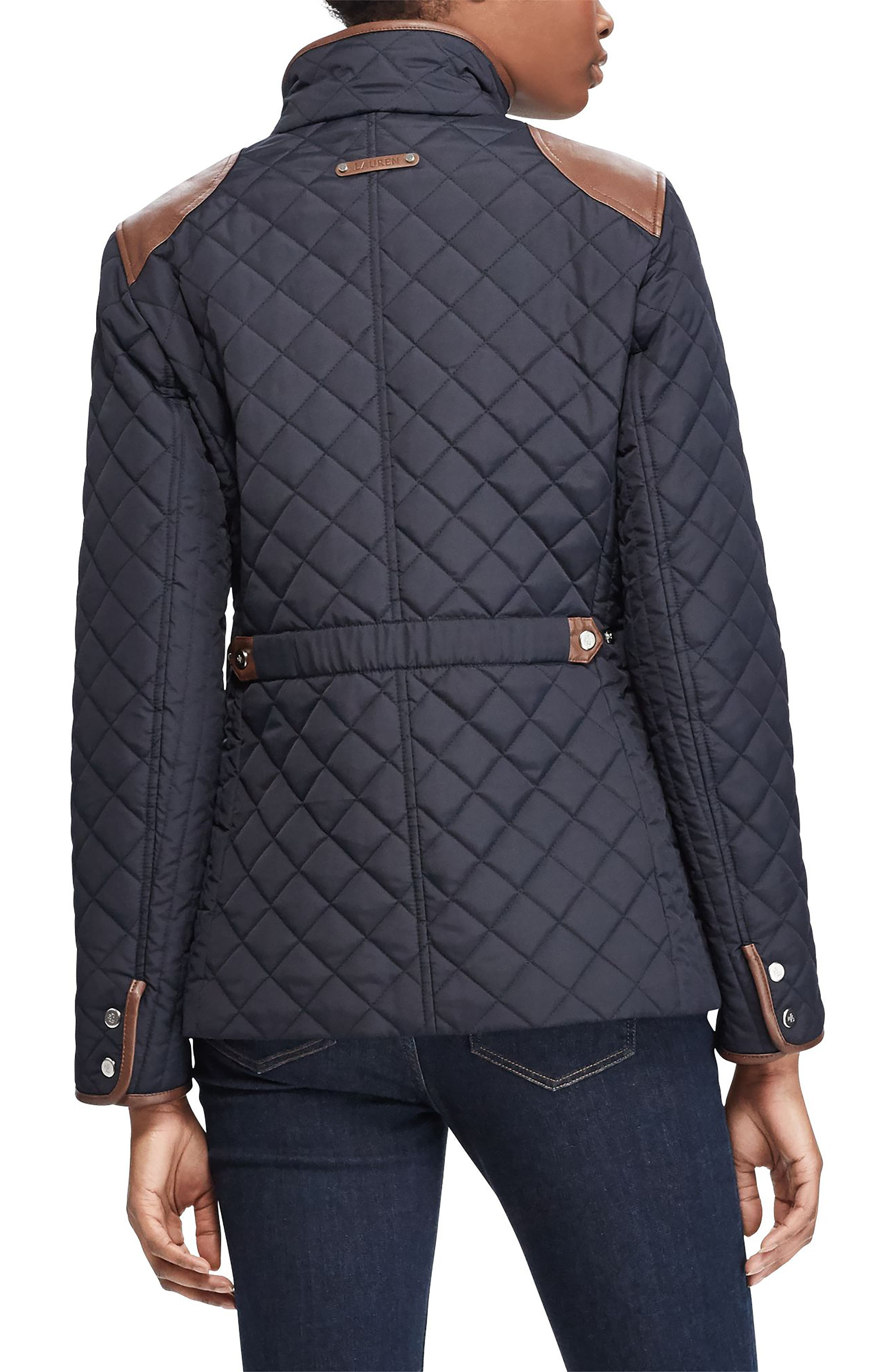 Faux Leather Trim Quilted Jacket,                             Alternate thumbnail 9, color,
