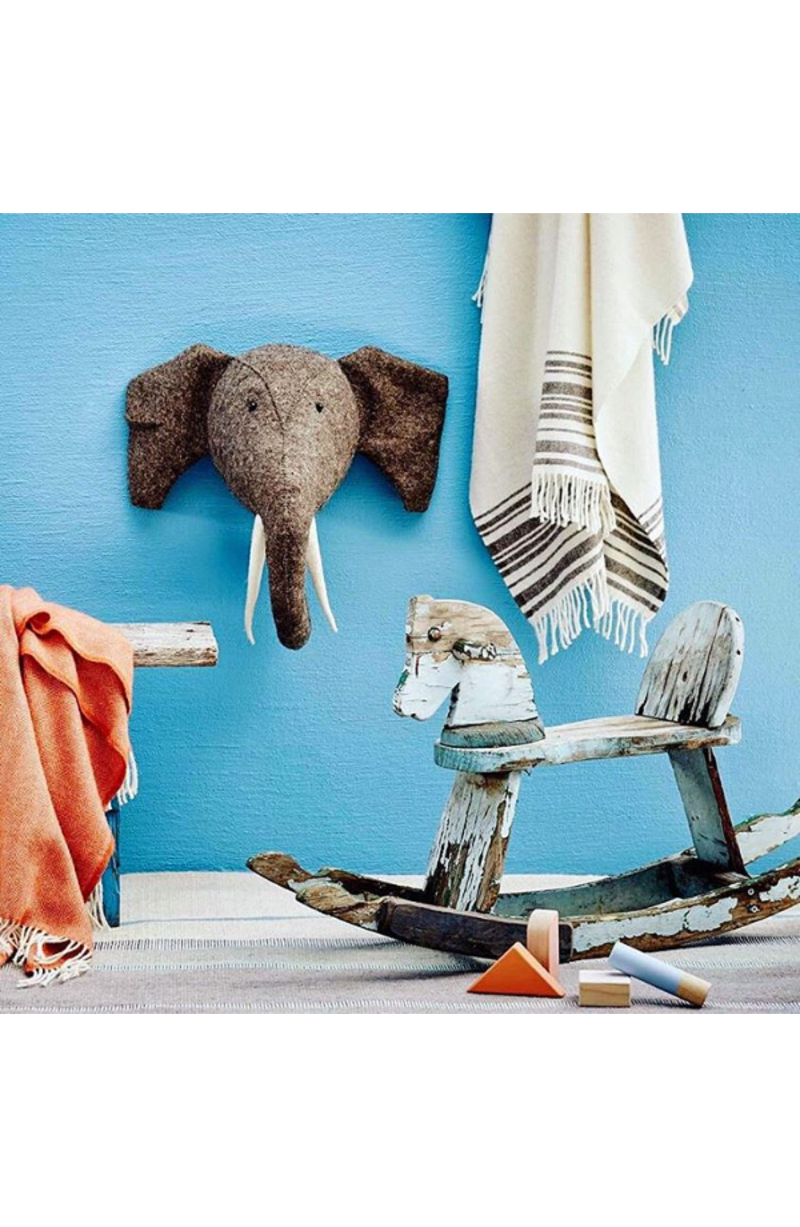 Elephant Head with Tusks Wall Art,                             Alternate thumbnail 5, color,                             GREY