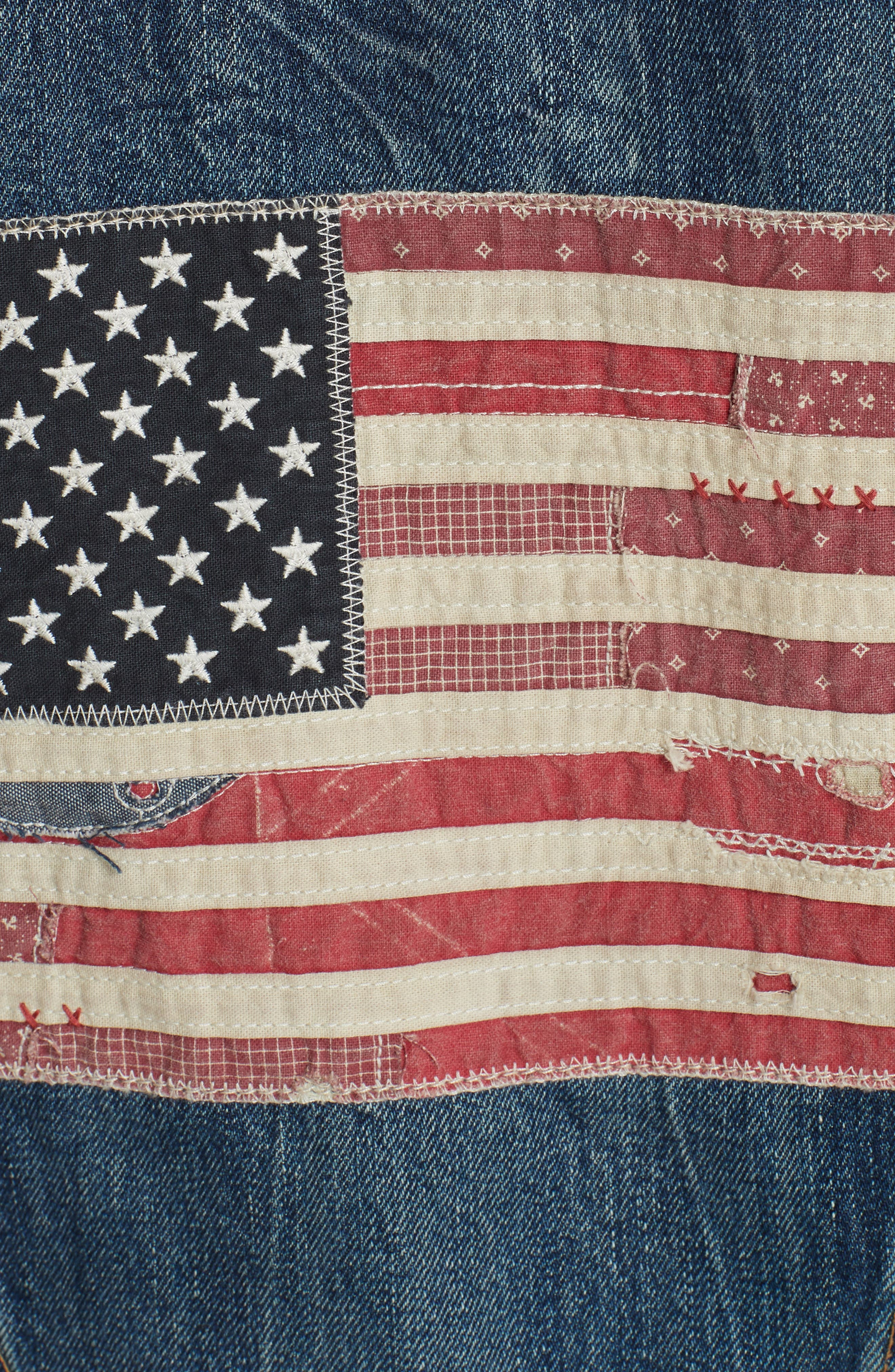 Flag Trucker Denim Jacket,                             Alternate thumbnail 7, color,                             DARK INDIGO