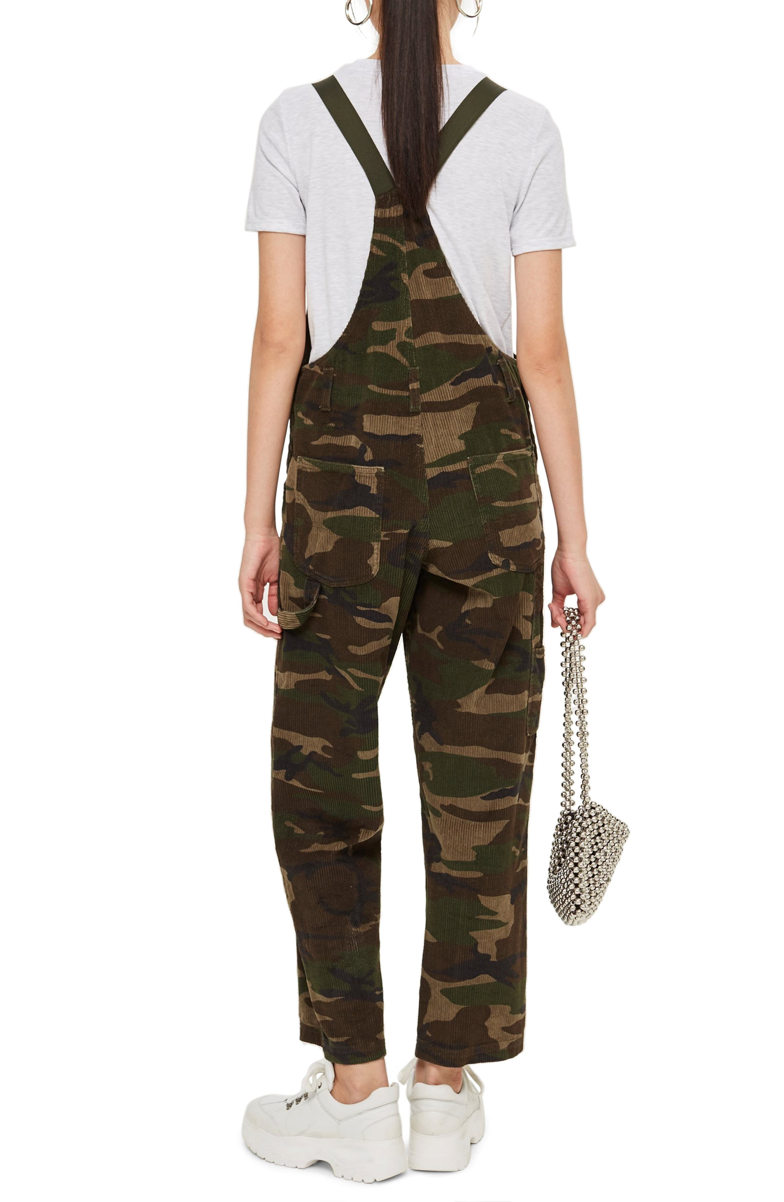 Camouflage Corduroy Overalls,                             Alternate thumbnail 2, color,                             OLIVE MULTI