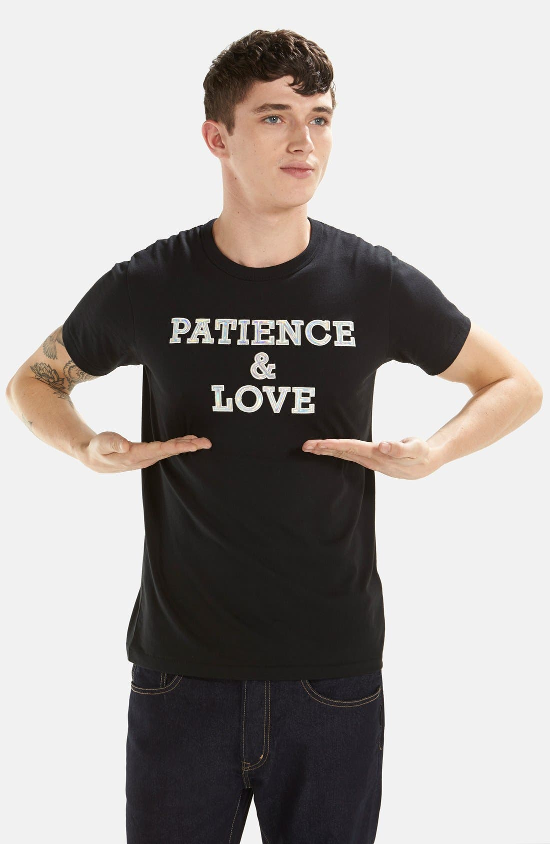 'Patience & Love' Iridescent Graphic T-Shirt,                             Alternate thumbnail 3, color,                             001