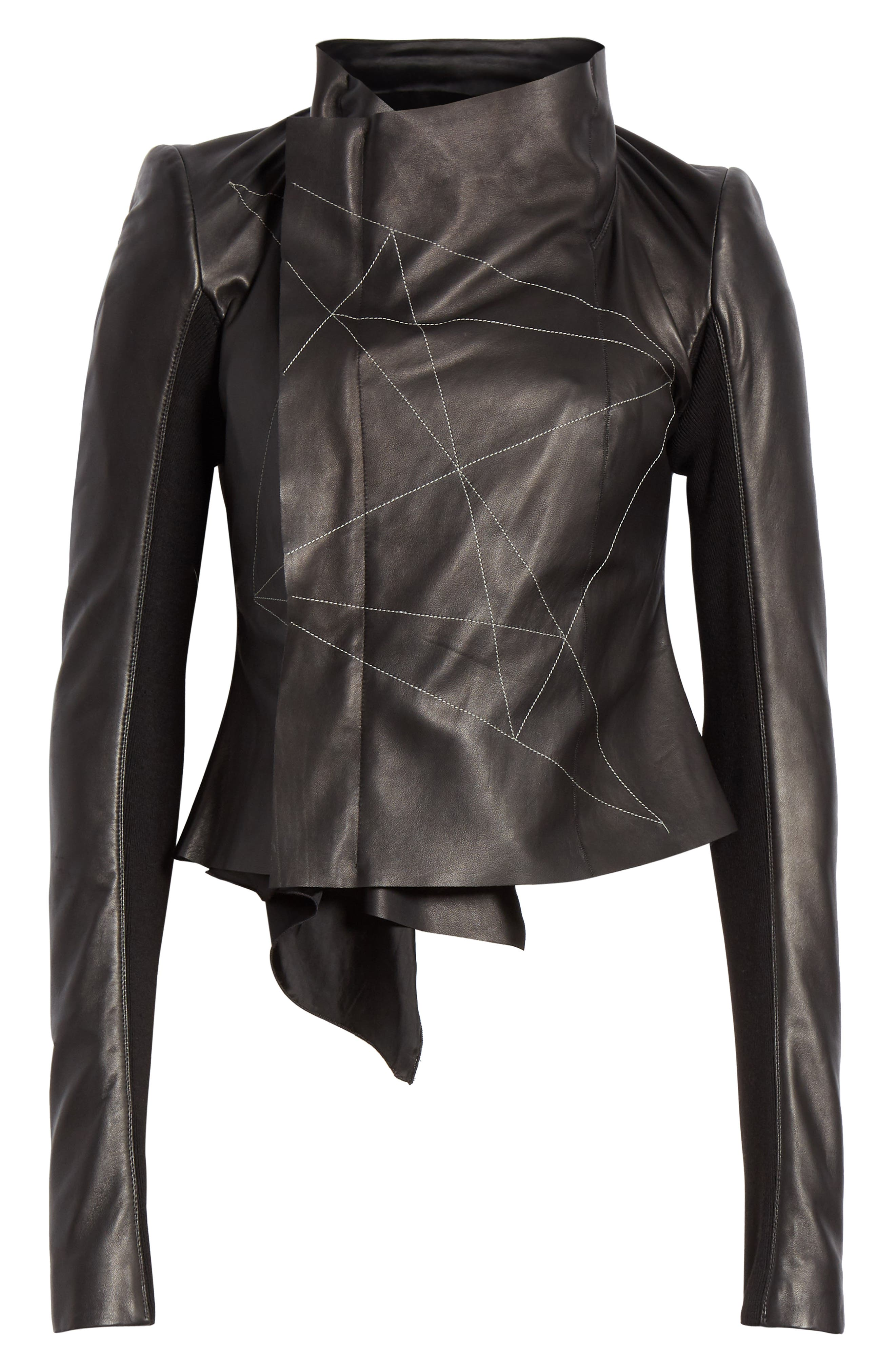 RICK OWENS,                             Embroidered Leather Biker Jacket,                             Alternate thumbnail 5, color,                             BLACK PEARL
