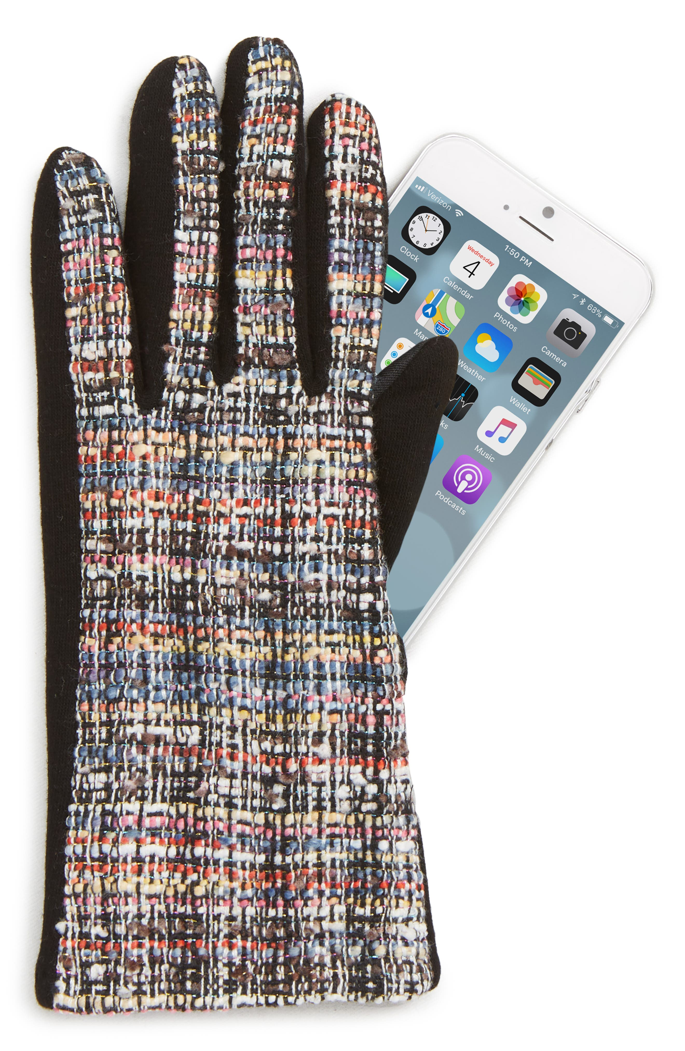 Tweed Touchscreen Compatible Gloves,                             Alternate thumbnail 2, color,                             BLACK MULTI