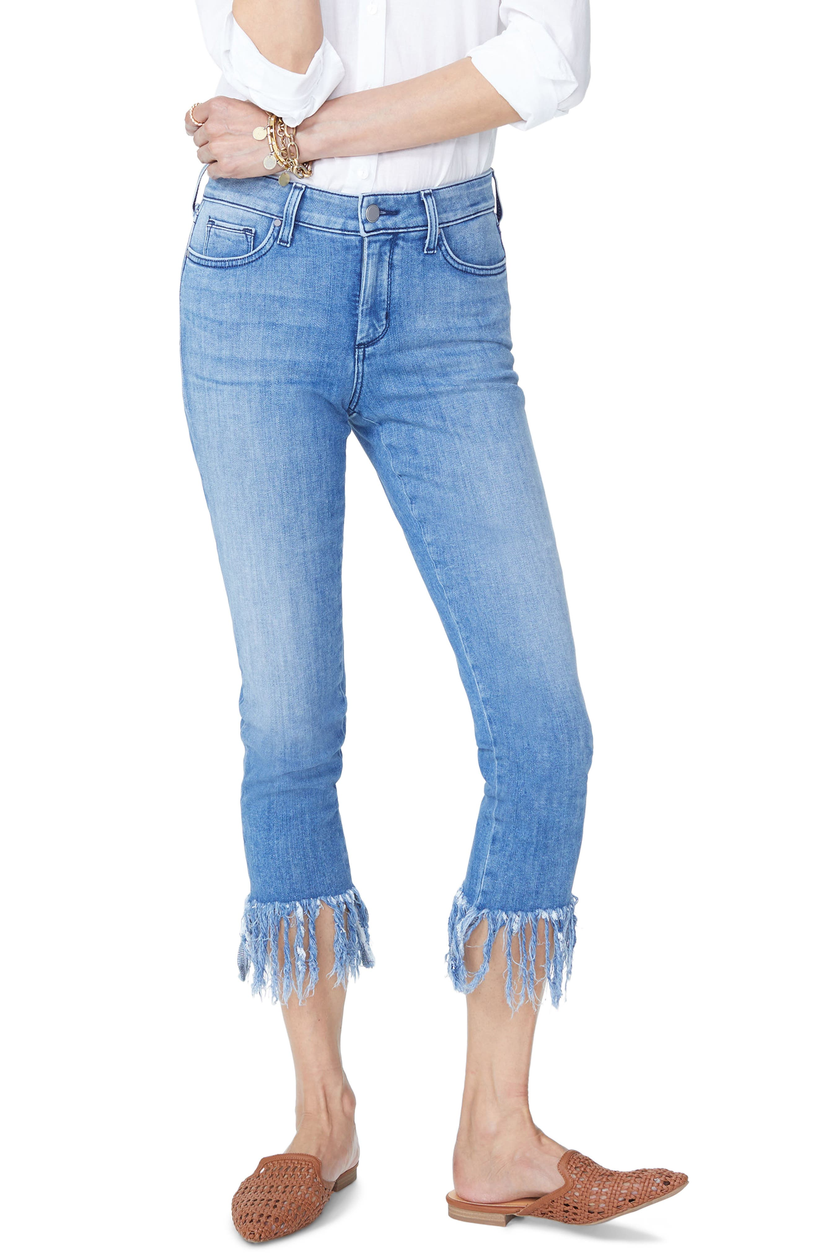 Ami High Waist Long Fray Skinny Stretch Ankle Jeans,                             Main thumbnail 1, color,                             425