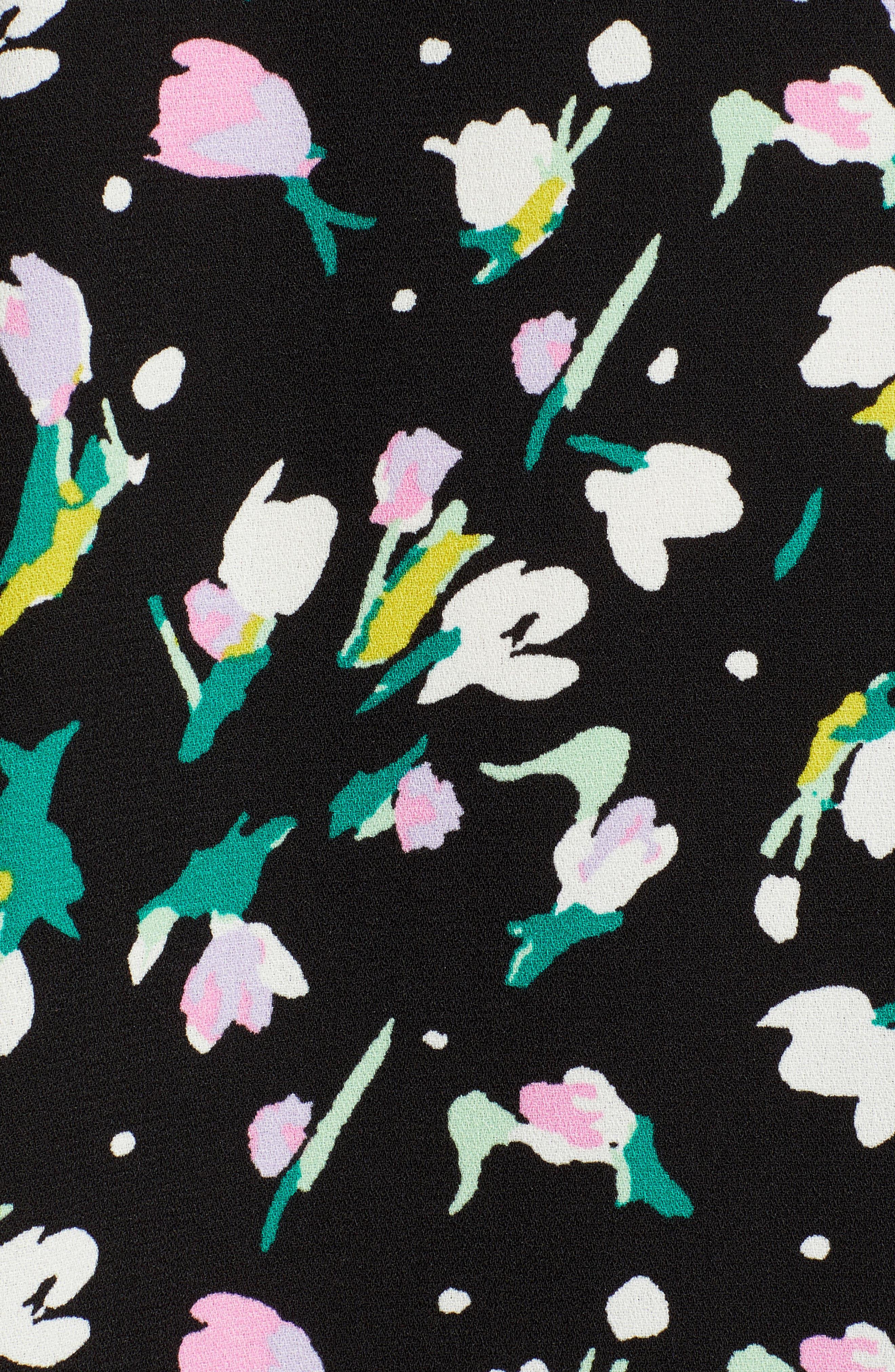 HALOGEN<SUP>®</SUP>,                             A-Line Dress,                             Alternate thumbnail 6, color,                             BLACK TINY TULIP PRINT