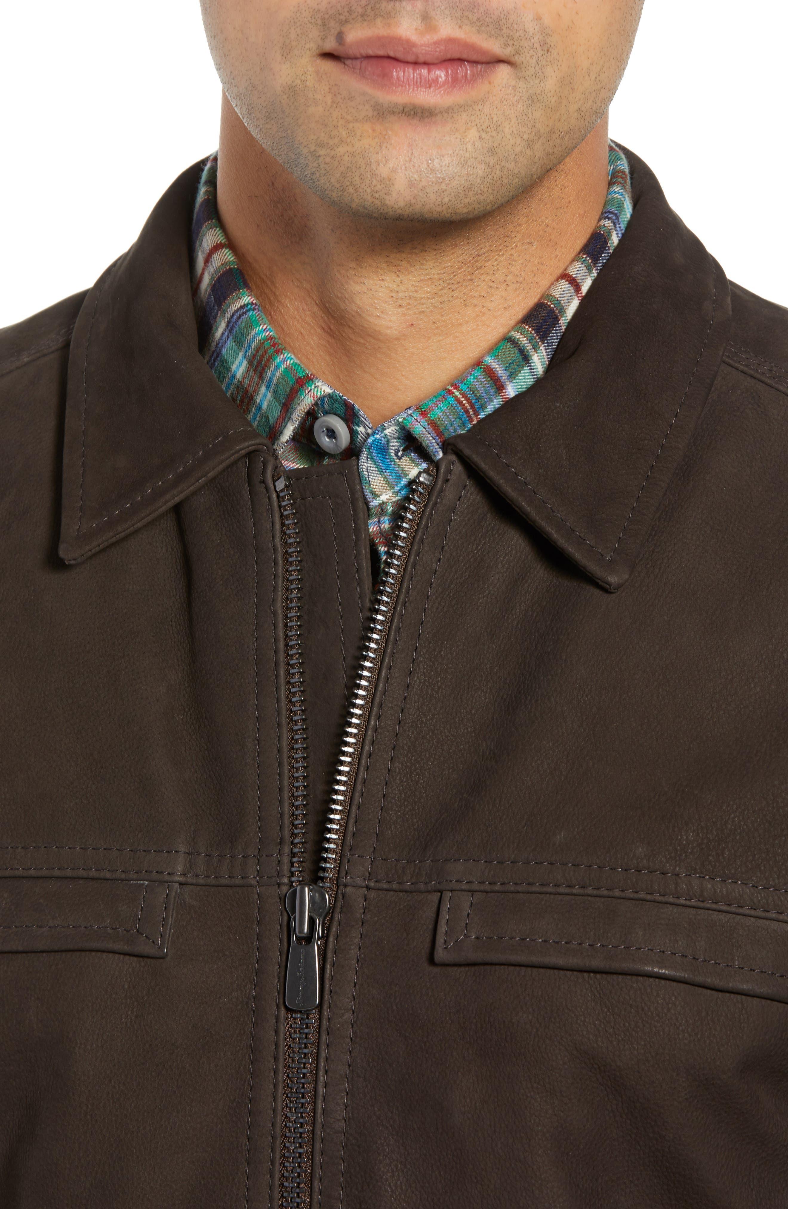 Elliott Bay Leather Jacket,                             Alternate thumbnail 4, color,                             COFFEE