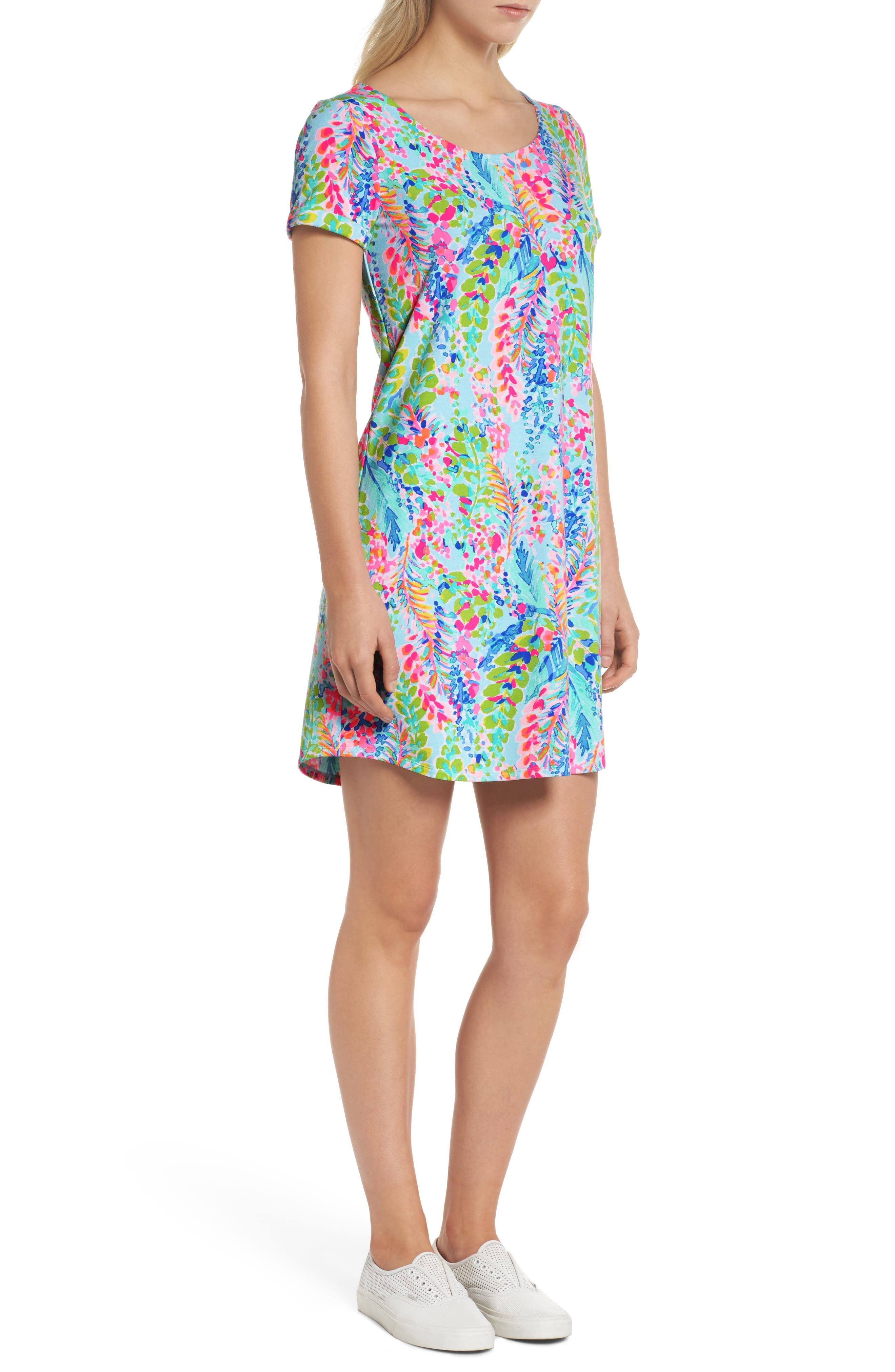 Tammy UPF 50+ Print Shift Dress,                             Alternate thumbnail 3, color,                             400