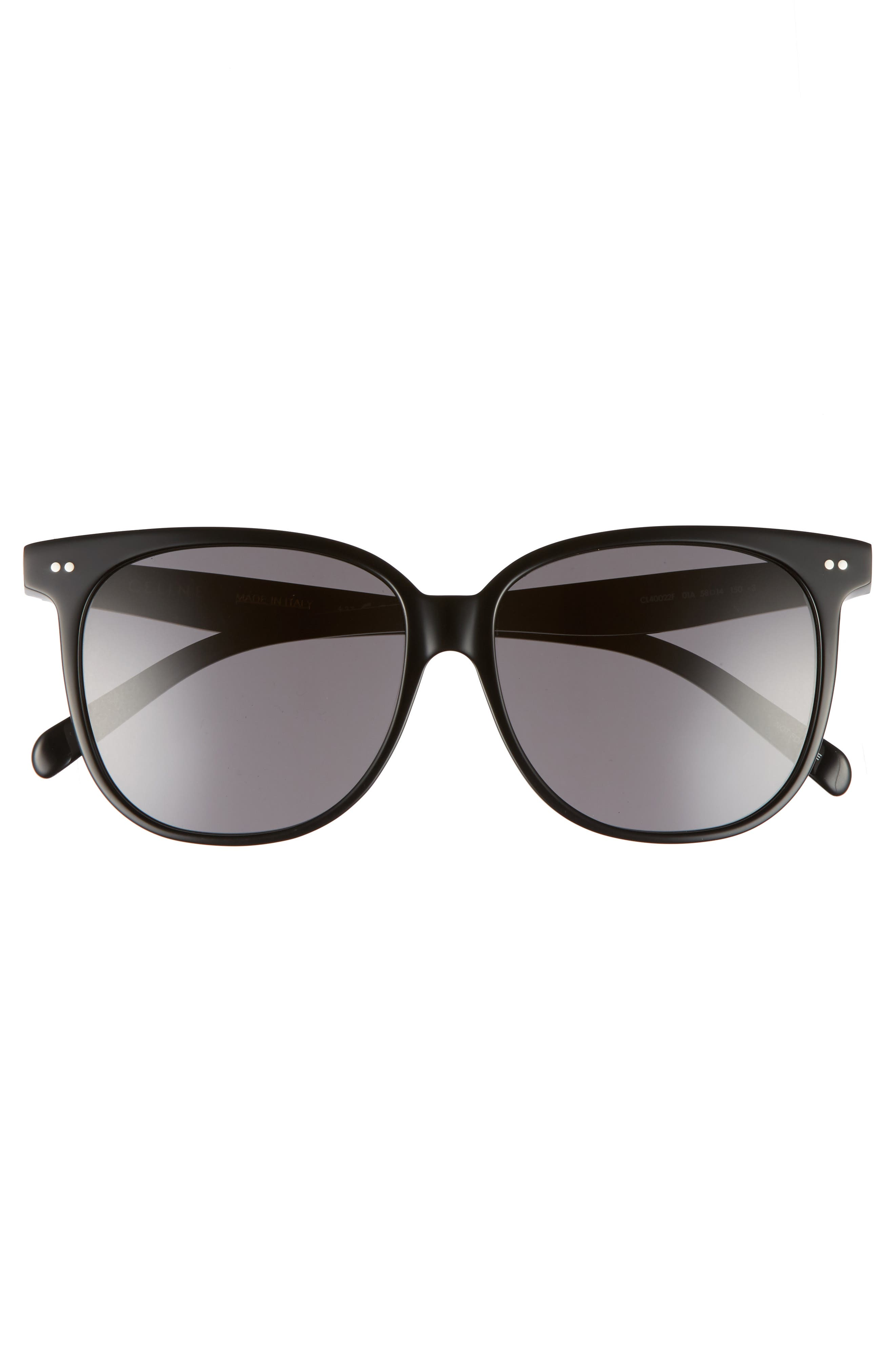 Special Fit 58mm Square Sunglasses,                             Alternate thumbnail 3, color,                             BLACK/ SMOKE