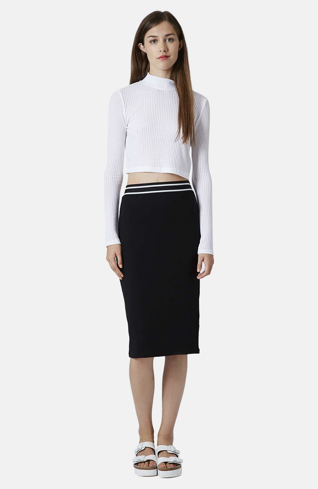 Stripe Waistband Tube Skirt,                             Alternate thumbnail 4, color,                             001