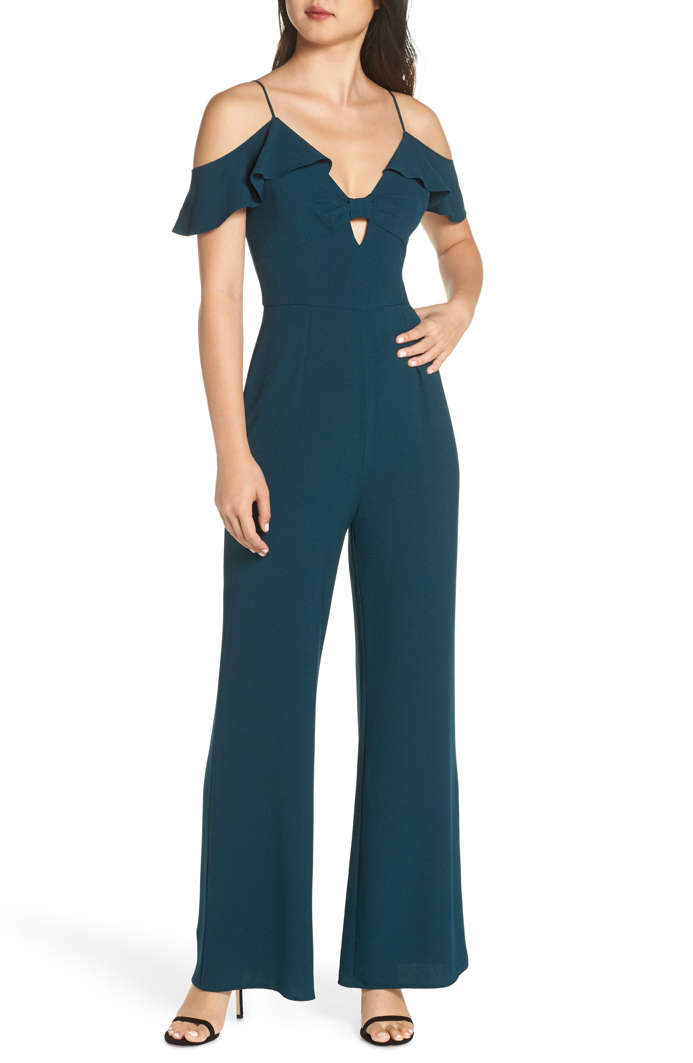 CHARLES HENRY Flutter Sleeve Cold Shoulder Jumpsuit in New Pine
