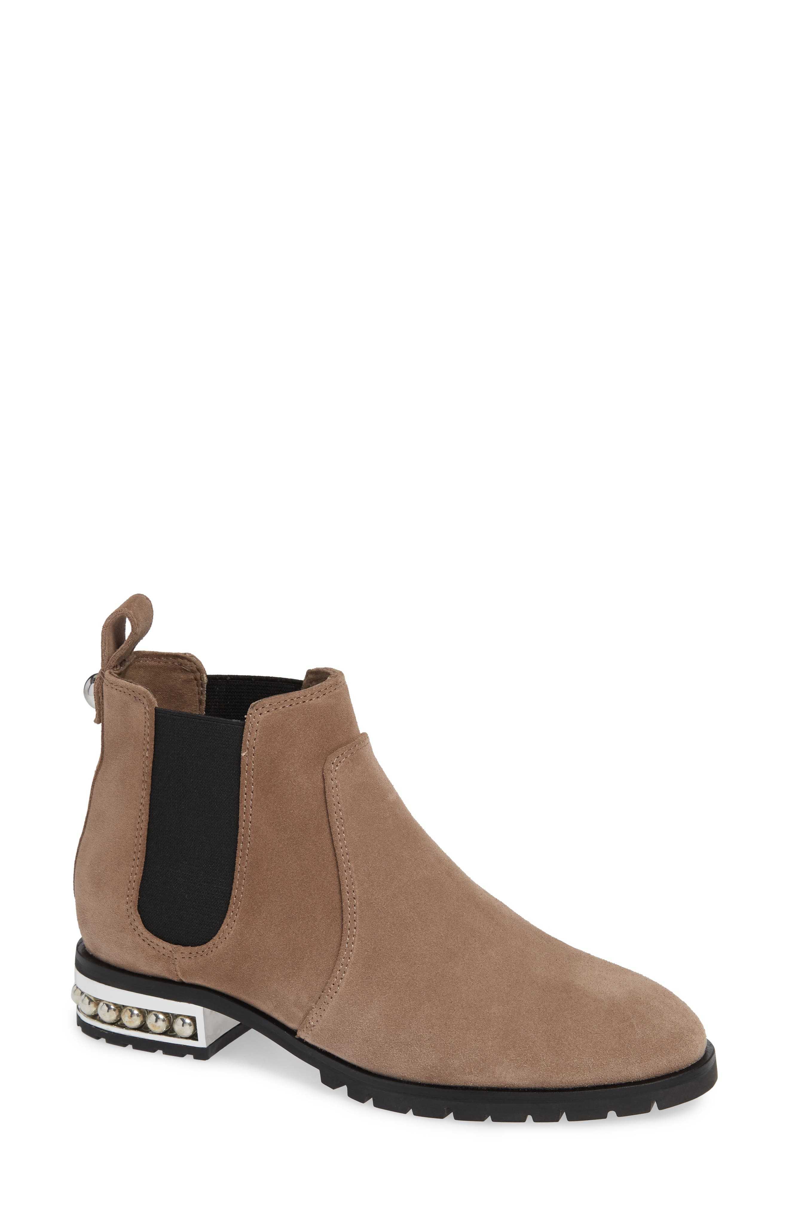 KARL LAGERFELD PARIS Saxe Chelsea Bootie, Main, color, TAUPE SUEDE